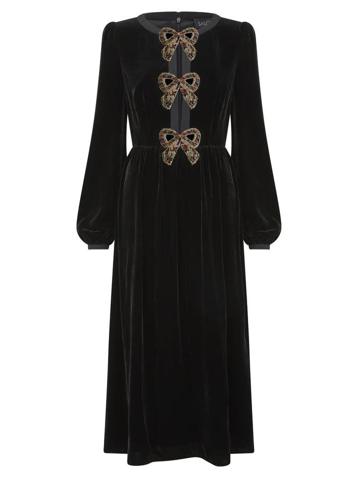 Camille Velvet Embellished Dress with Rainbow Bows 2