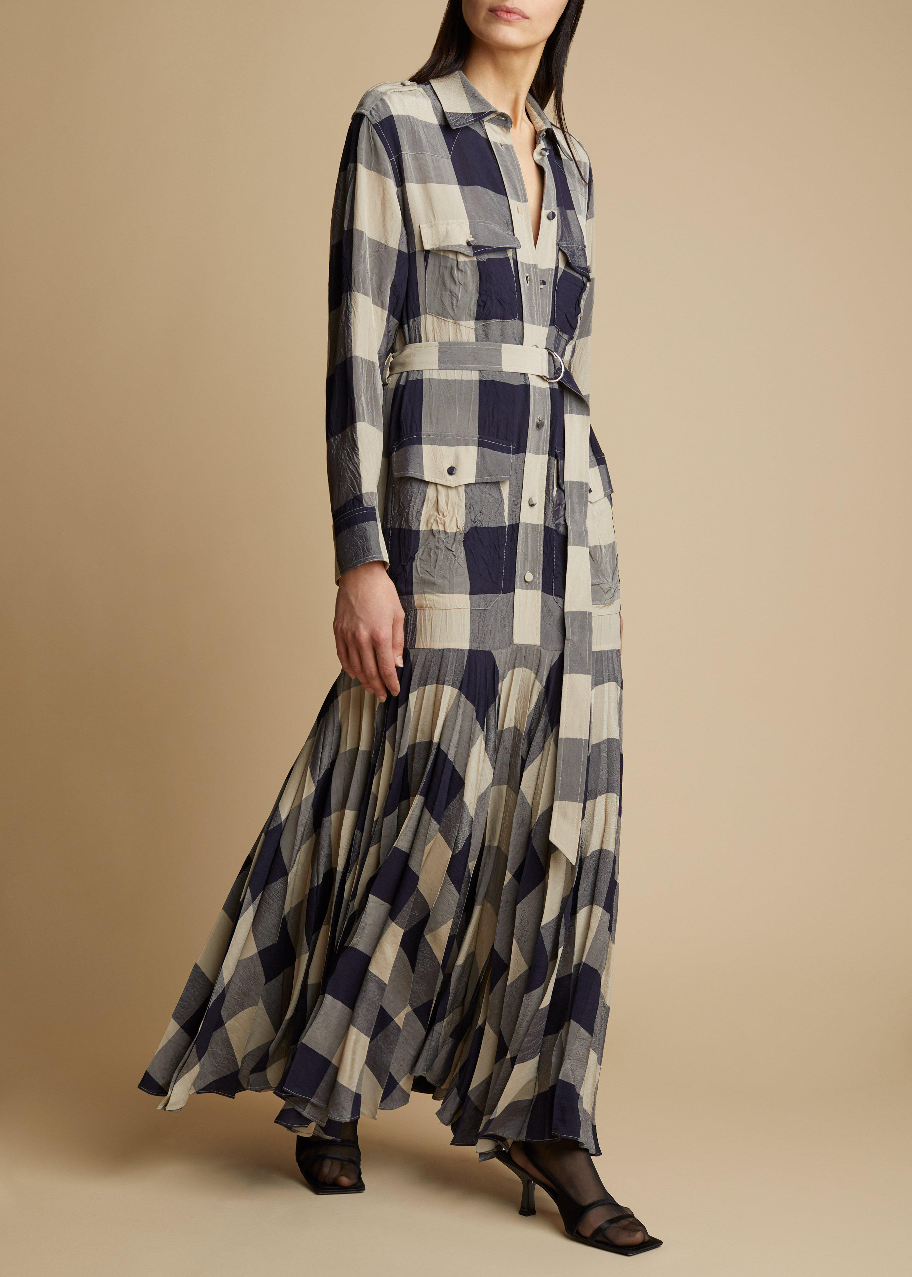 The Lyla Dress in Navy and Sand Check
