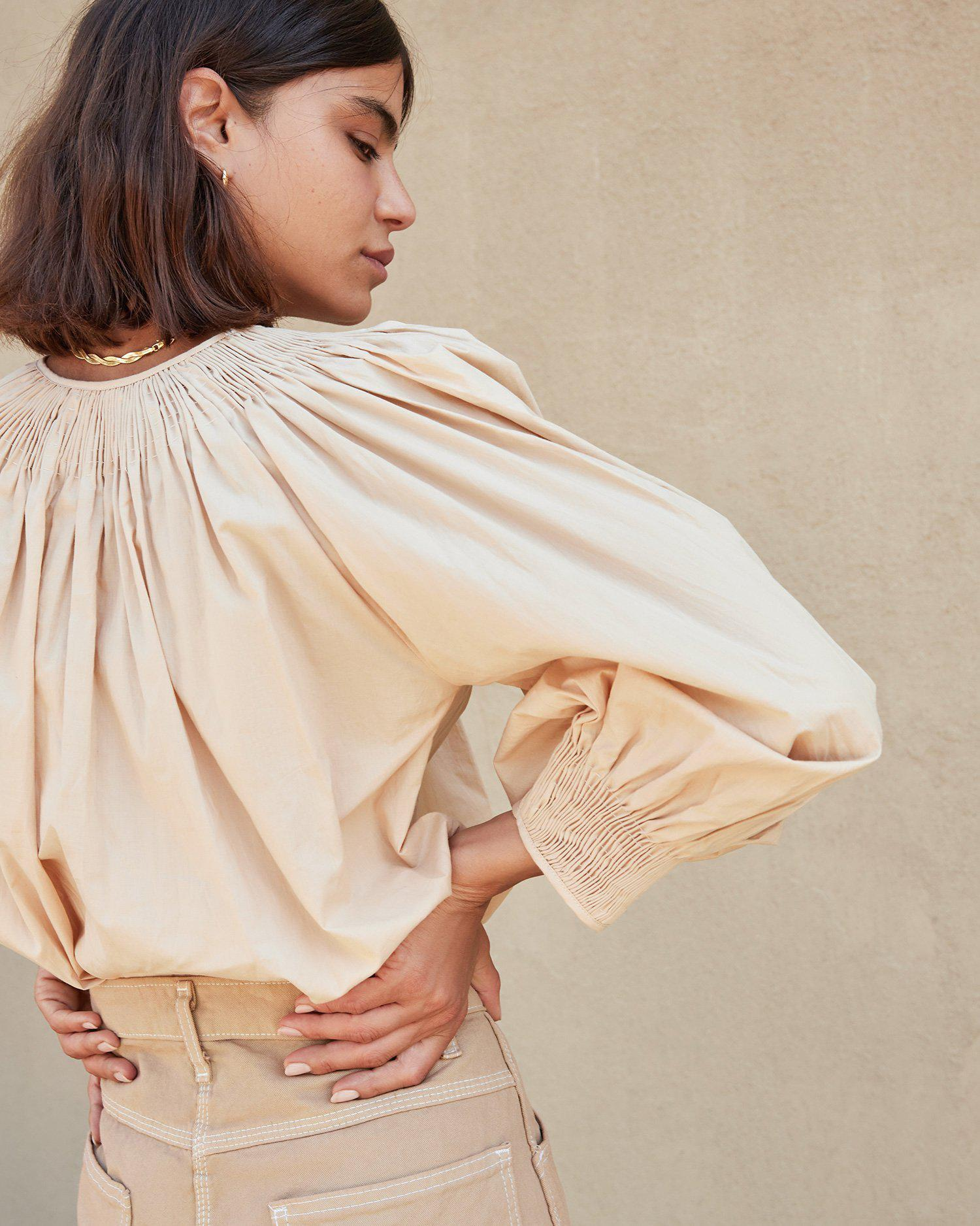 Lucia Sand Smocked Blouse 1