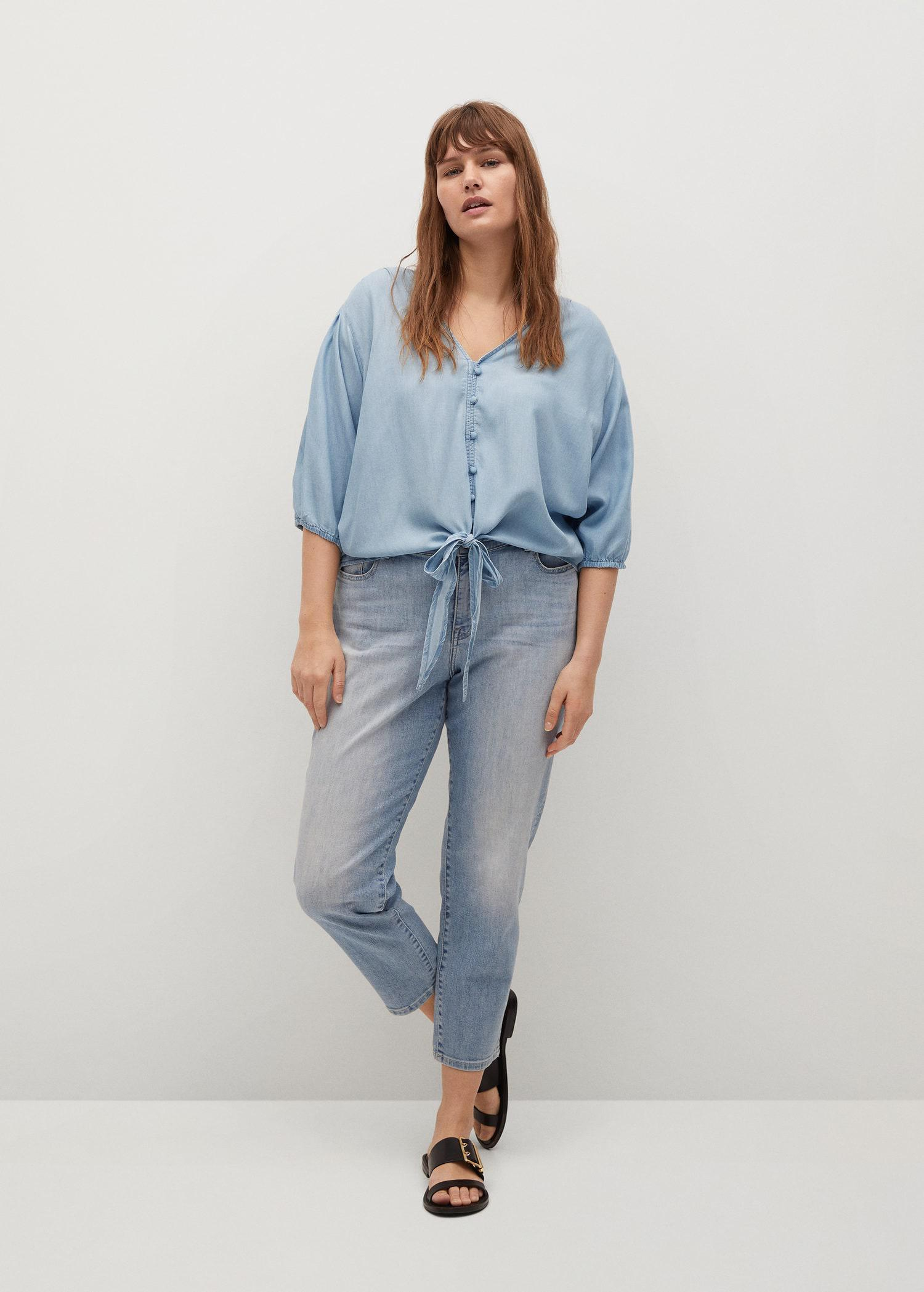 Knotted lyocell blouse