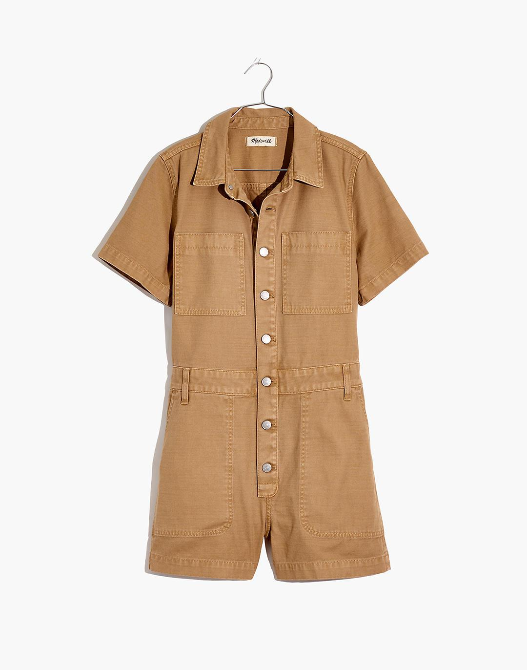 Petite Garment-Dyed Relaxed Coverall Romper