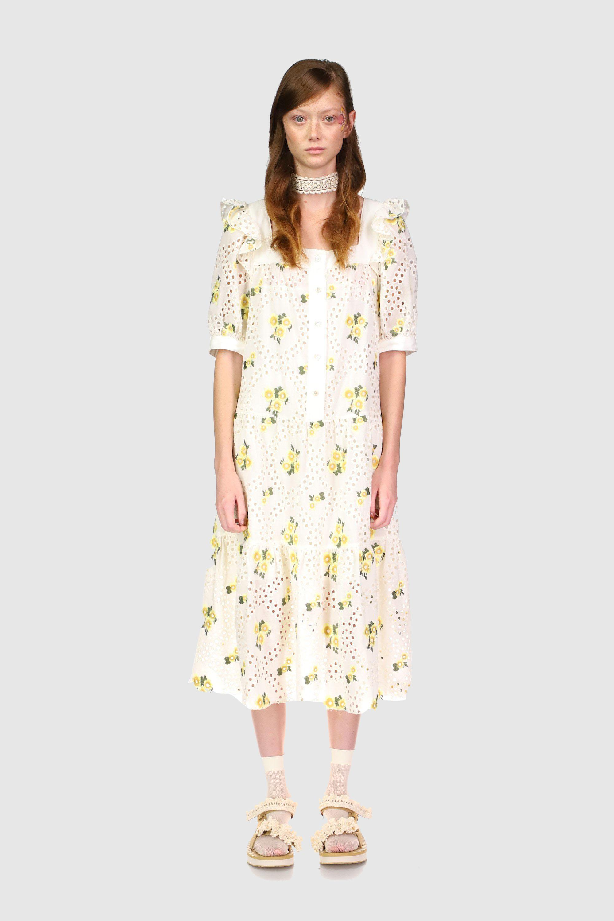 Pansy Eyelet Embroidered Puff Sleeve Dress 0