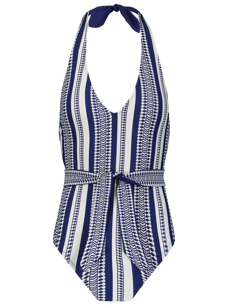 Luchia Deep V Belted One Piece