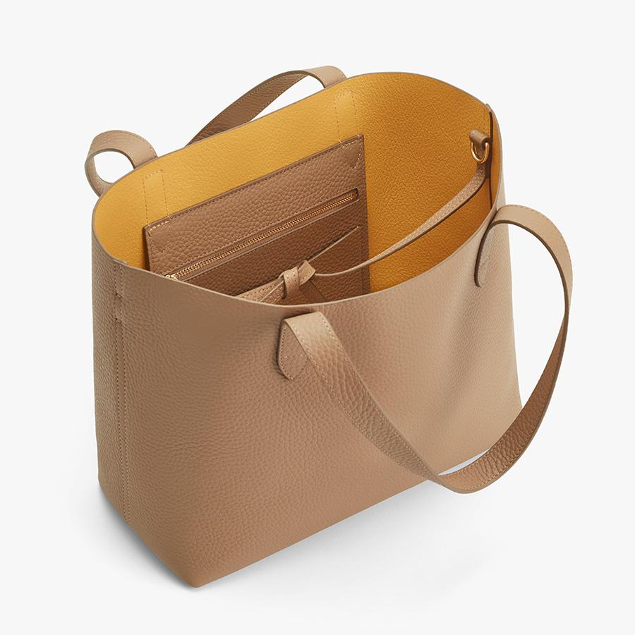 Women's Small Structured Leather Tote Bag in Cappuccino/Yellow | Pebbled Leather by Cuyana 1
