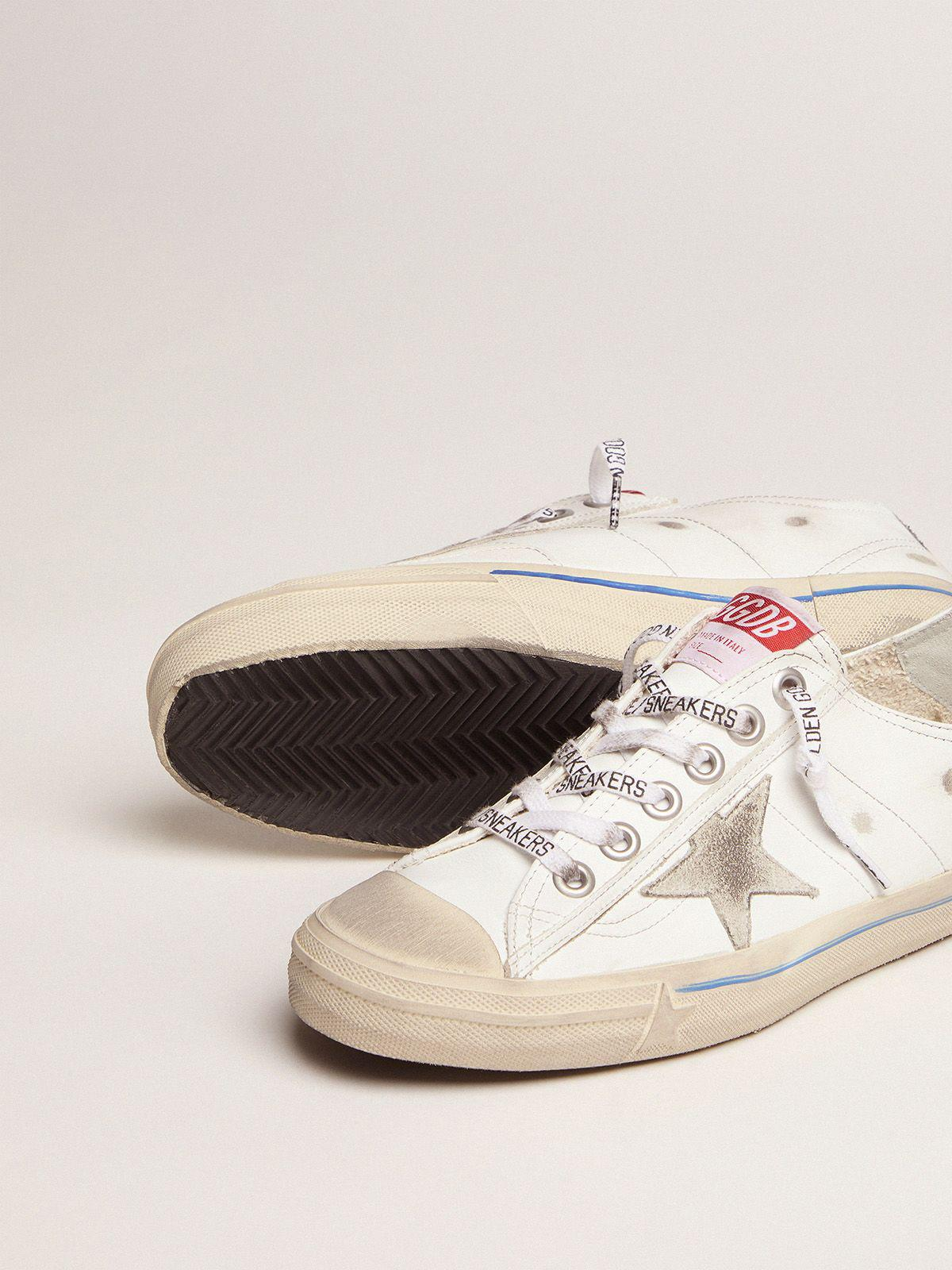 White leather V-Star sneakers with glittery vertical strip 2
