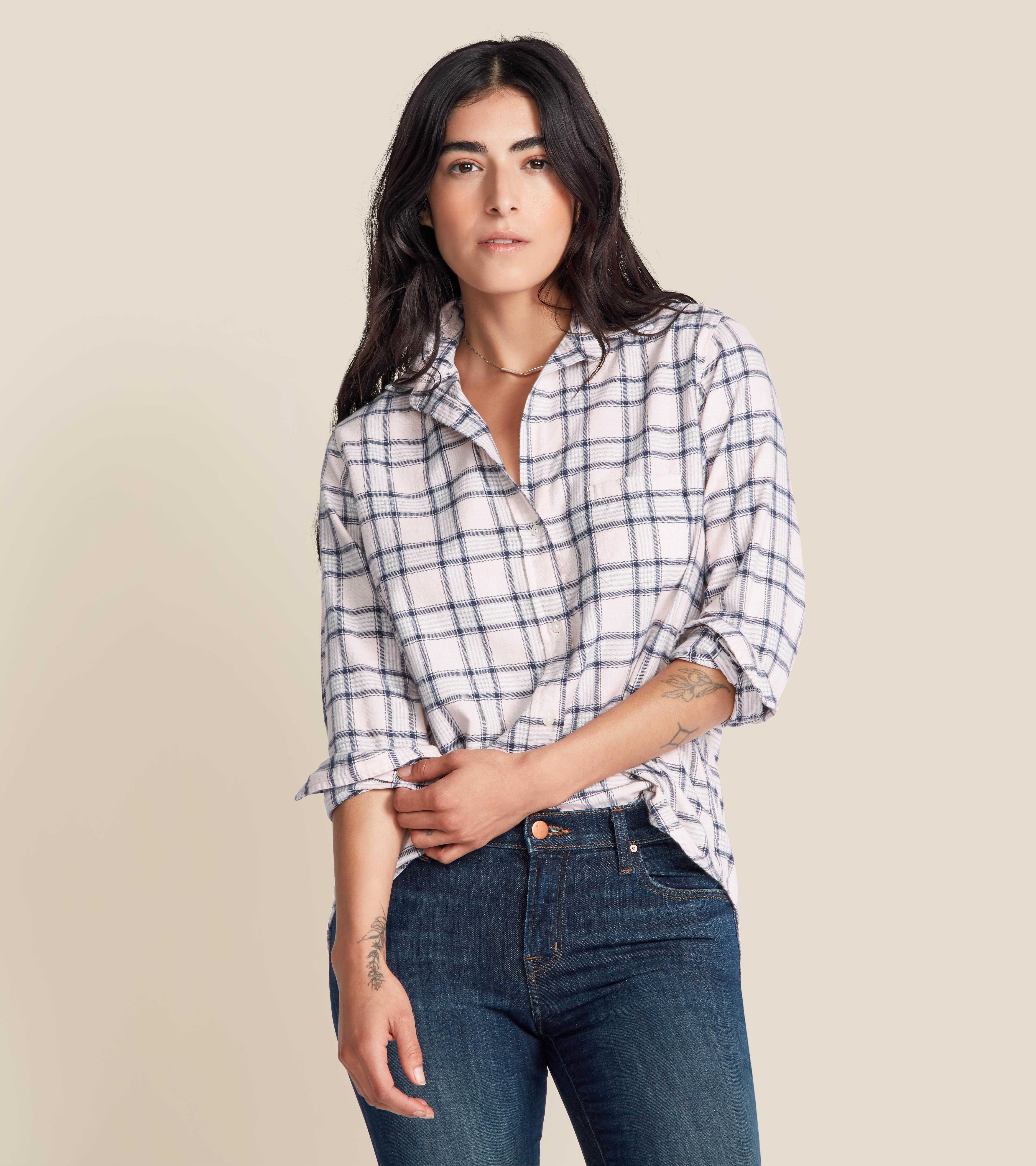 The Hero Button-Up Shirt Pink Melange Plaid, Feathered Flannel