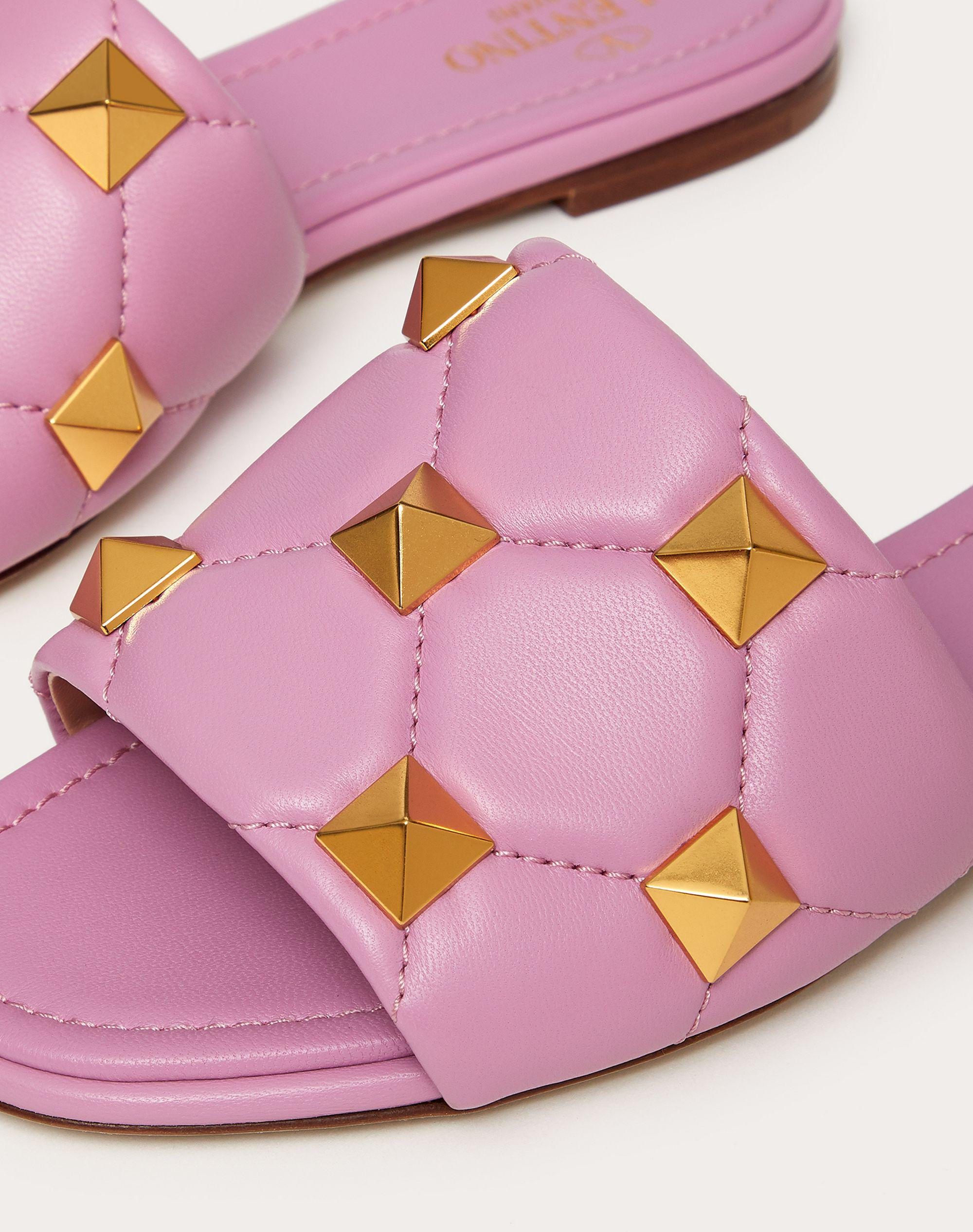 ROMAN STUD FLAT SLIDE SANDAL IN QUILTED NAPPA 4