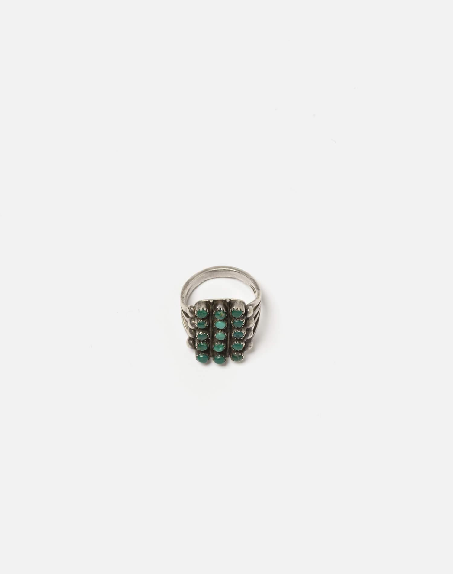 40s Zuni Spilt Shank Sterling And Turquoise Stone Ring - #96 3
