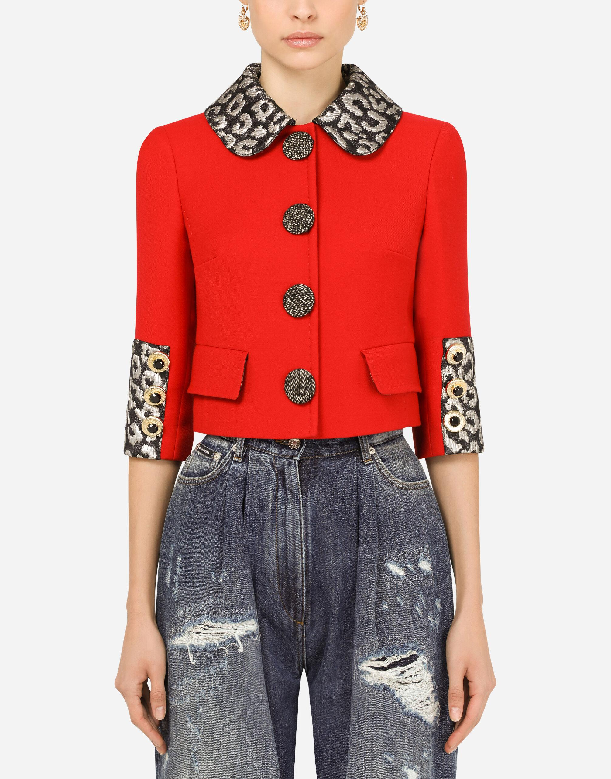 Wool crepe Gabbana jacket with jacquard details