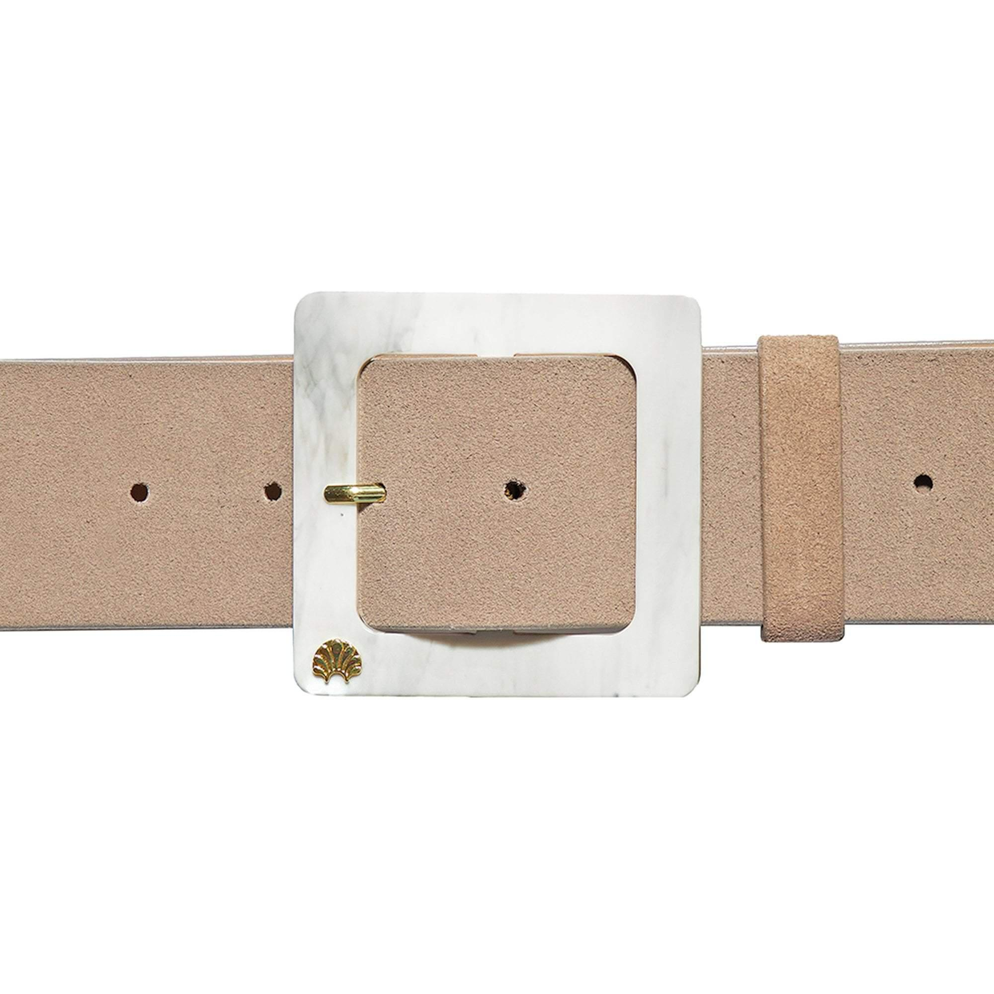 TAN SUEDE AND MARBLED ACETATE BELT