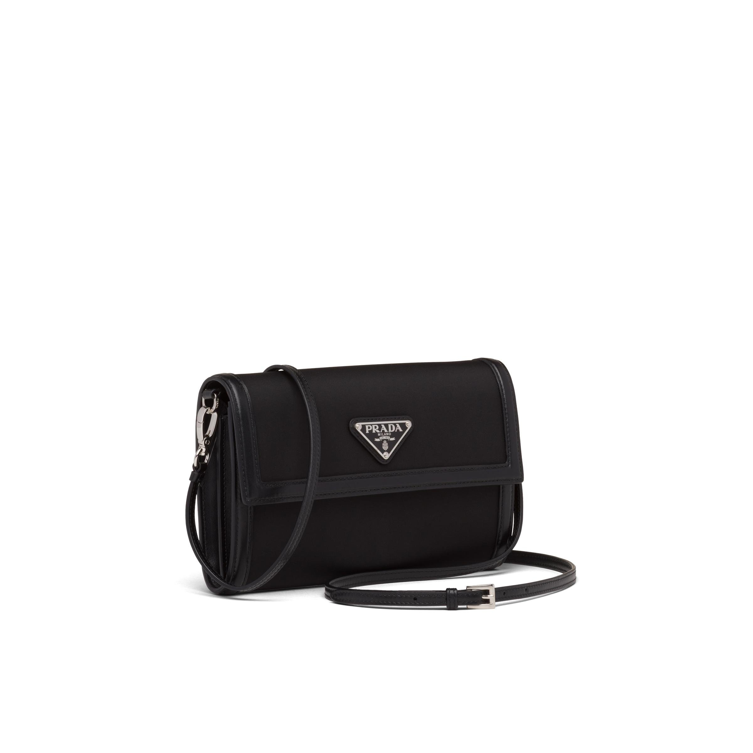 Nylon And Leather Wallet With Shoulder Strap Women Black 2