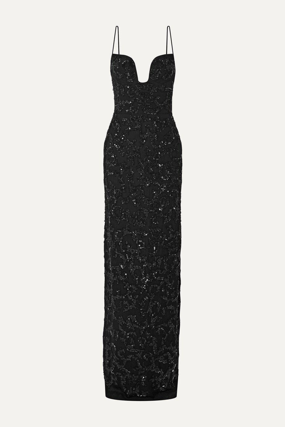 PLUNGE NECK EMBROIDERED GOWN 3