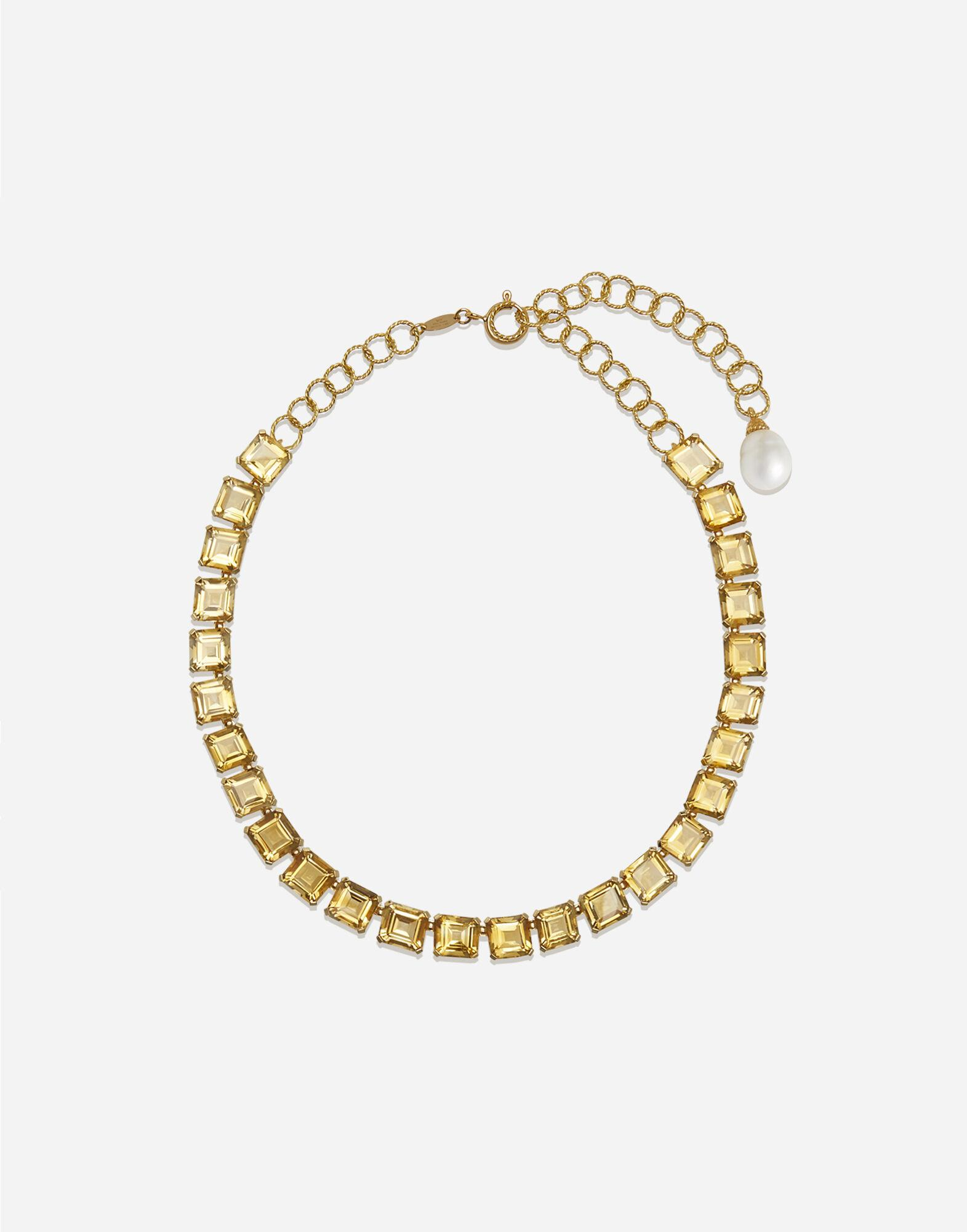 Anna necklace in yellow gold with citrine quartzes
