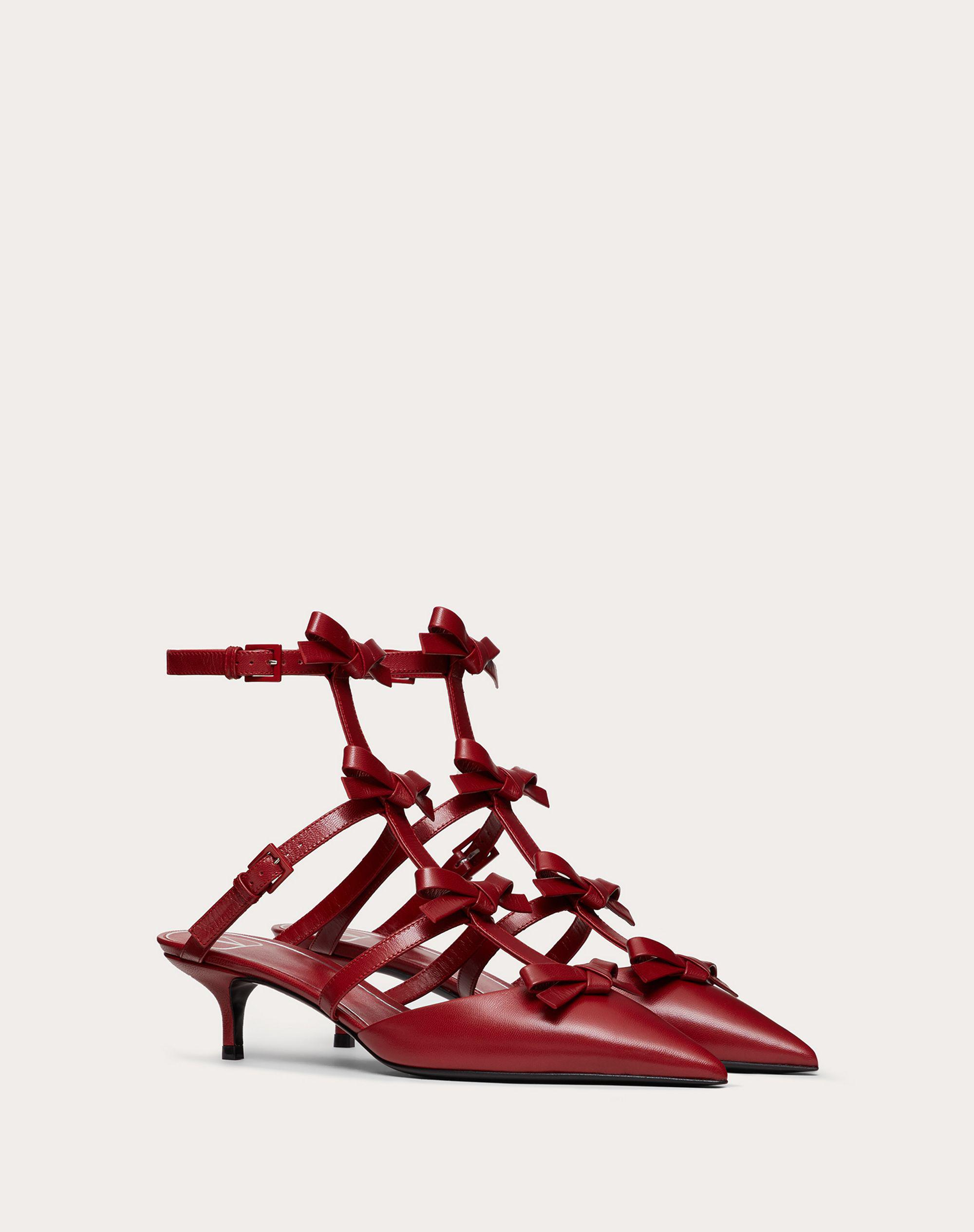 ANKLE STRAP PUMP WITH KIDSKIN FRENCH BOWS  40 MM 1