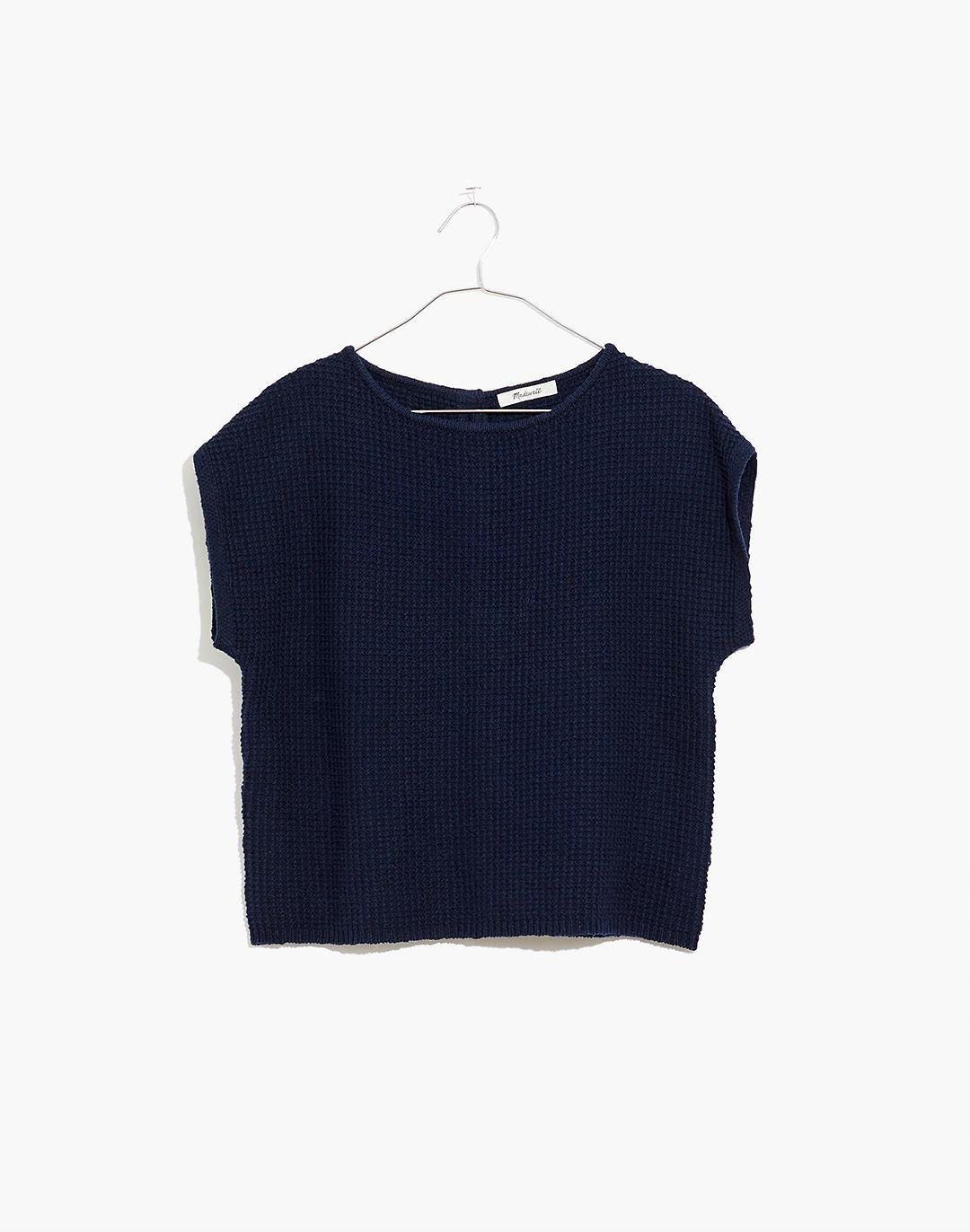 Boatneck Button-Back Sweater Tee
