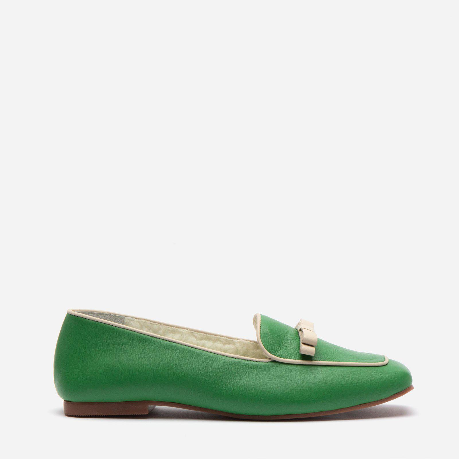 Suzanne Cozy Loafer Nappa Faux Shearling Green