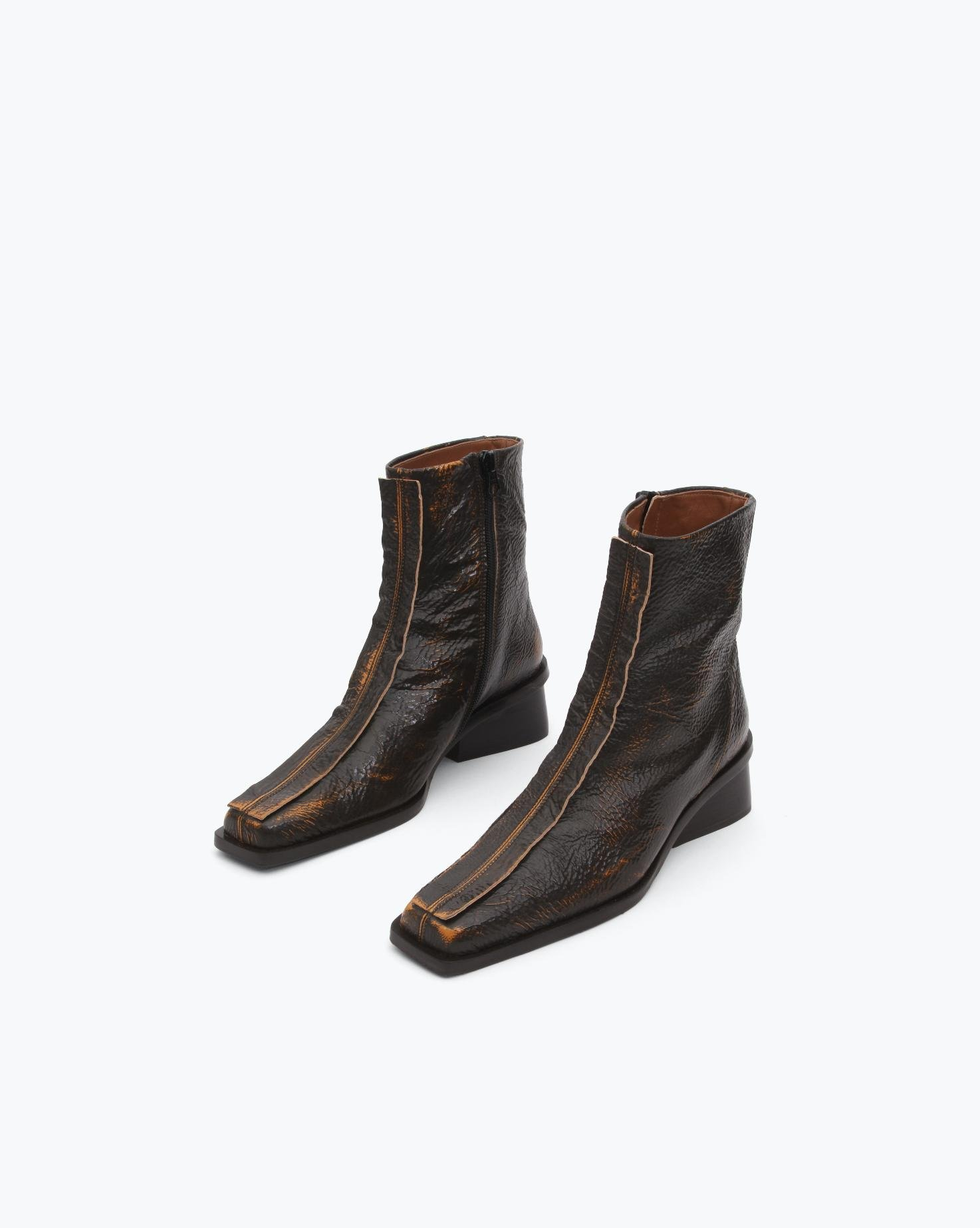 Miki Boots Leather Two-Tone Brown 1