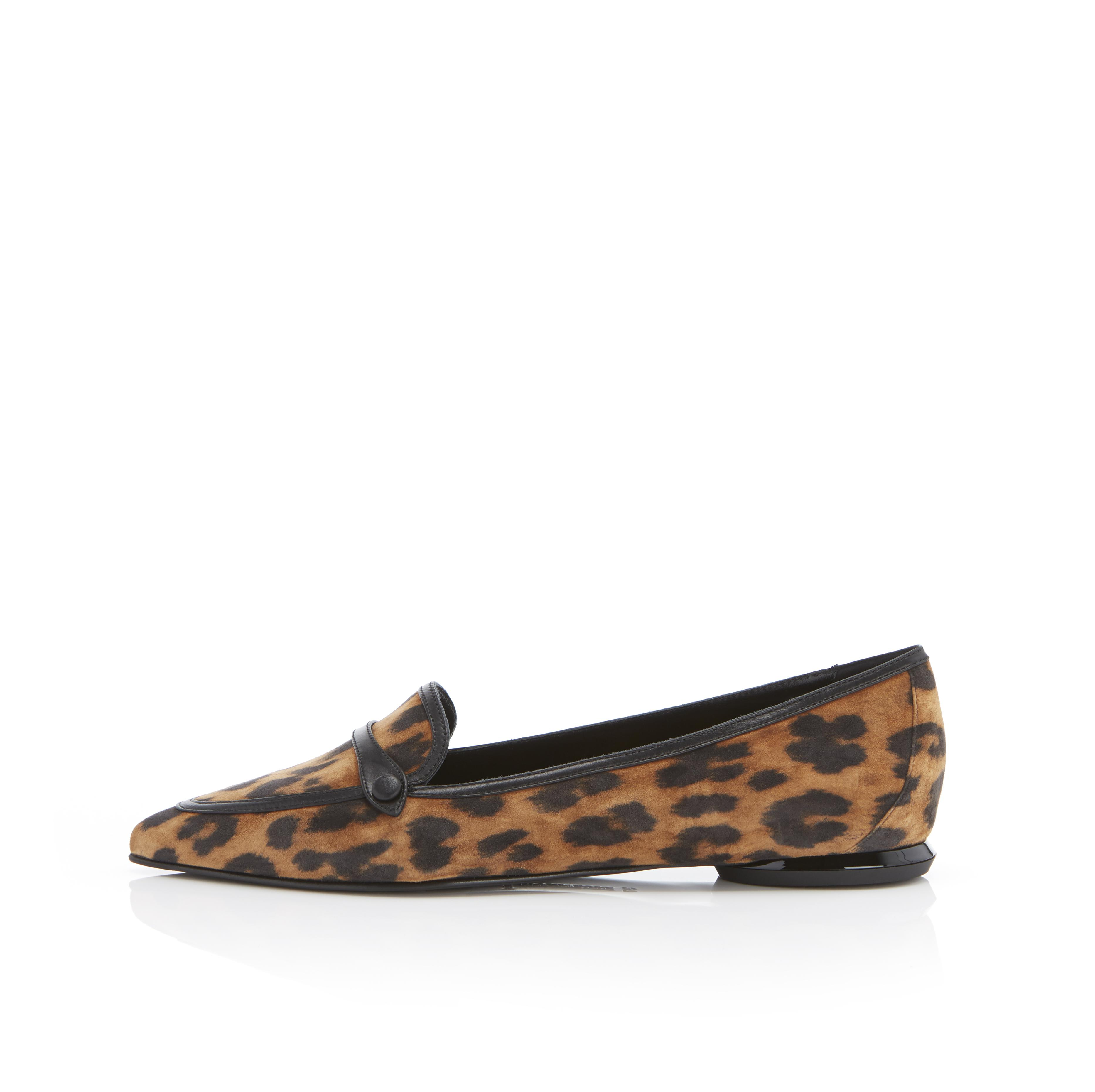 Natalie | Leopard Print Suede Pointy Toe Flat Loafer