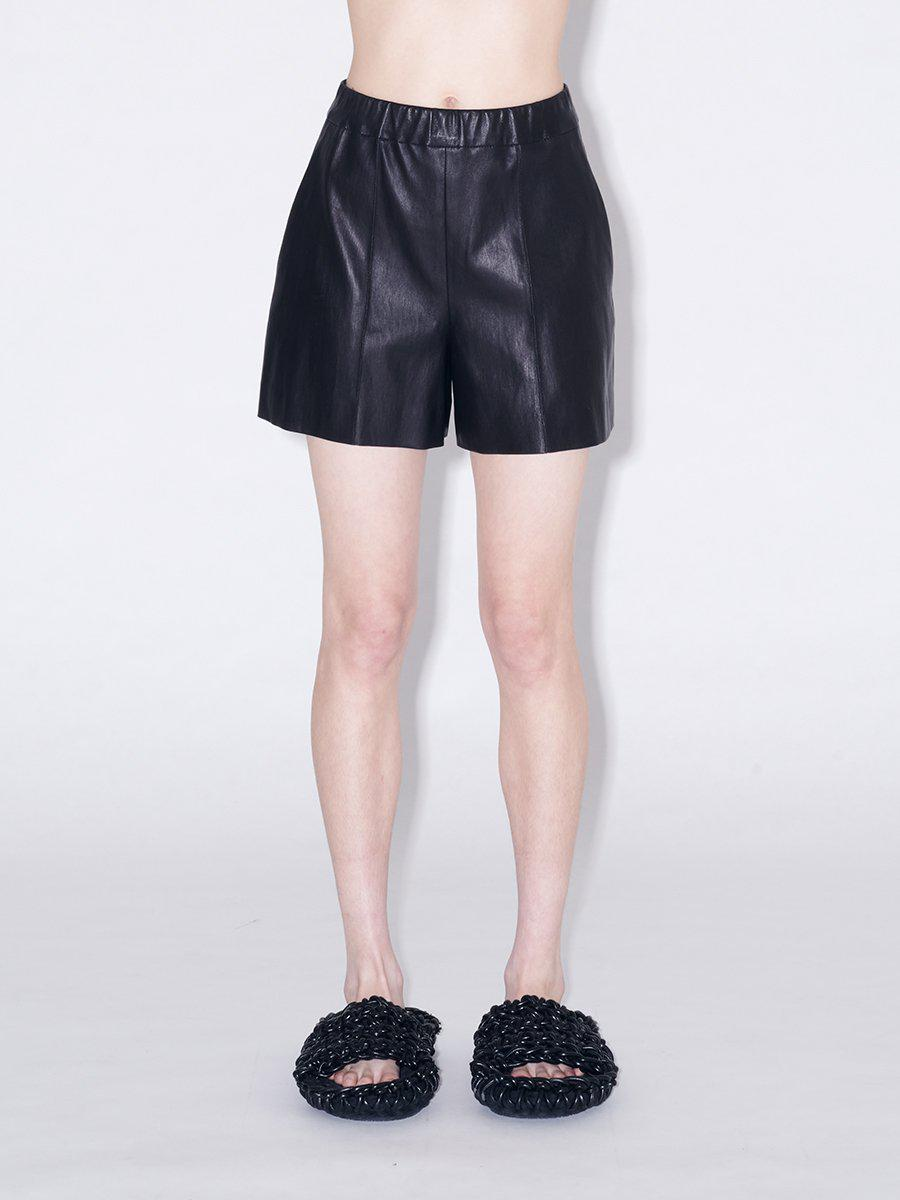 Pull On Pintuck Leather Shorts 1