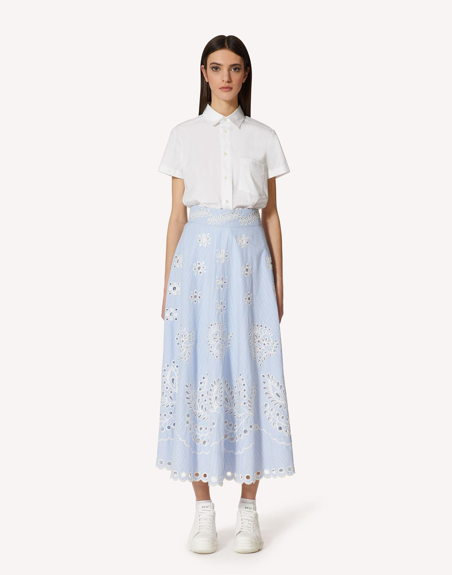 STRIPED COTTON SKIRT WITH SANGALLO EMBROIDERY