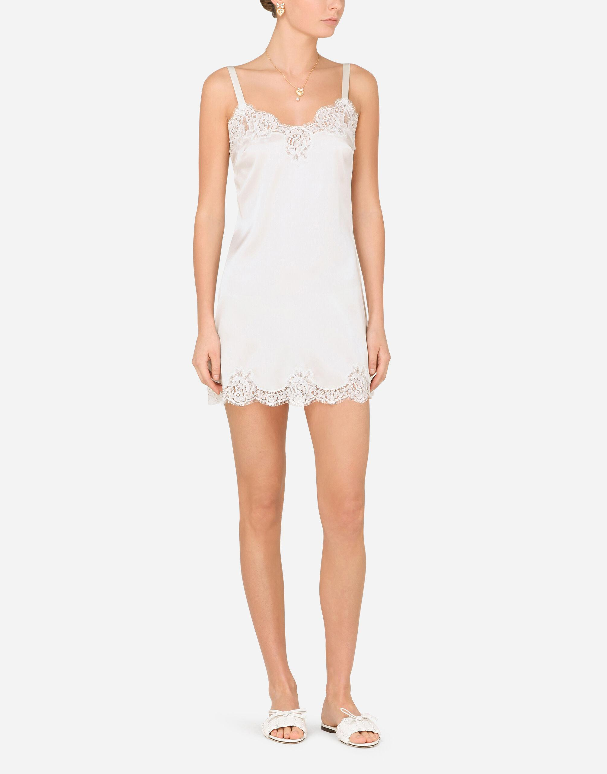 Satin lingerie-style slip with lace detailing