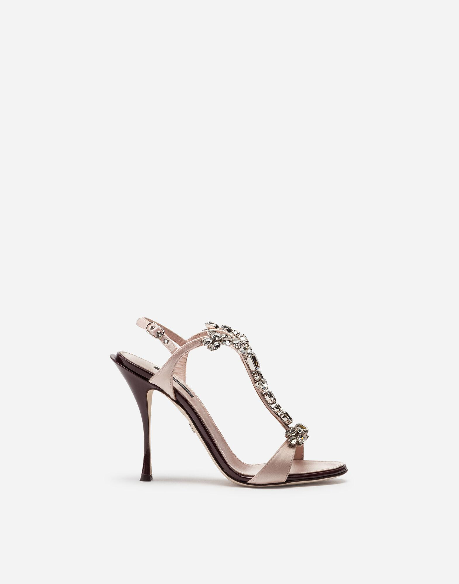 Satin and patent leather sandals with bejeweled detail