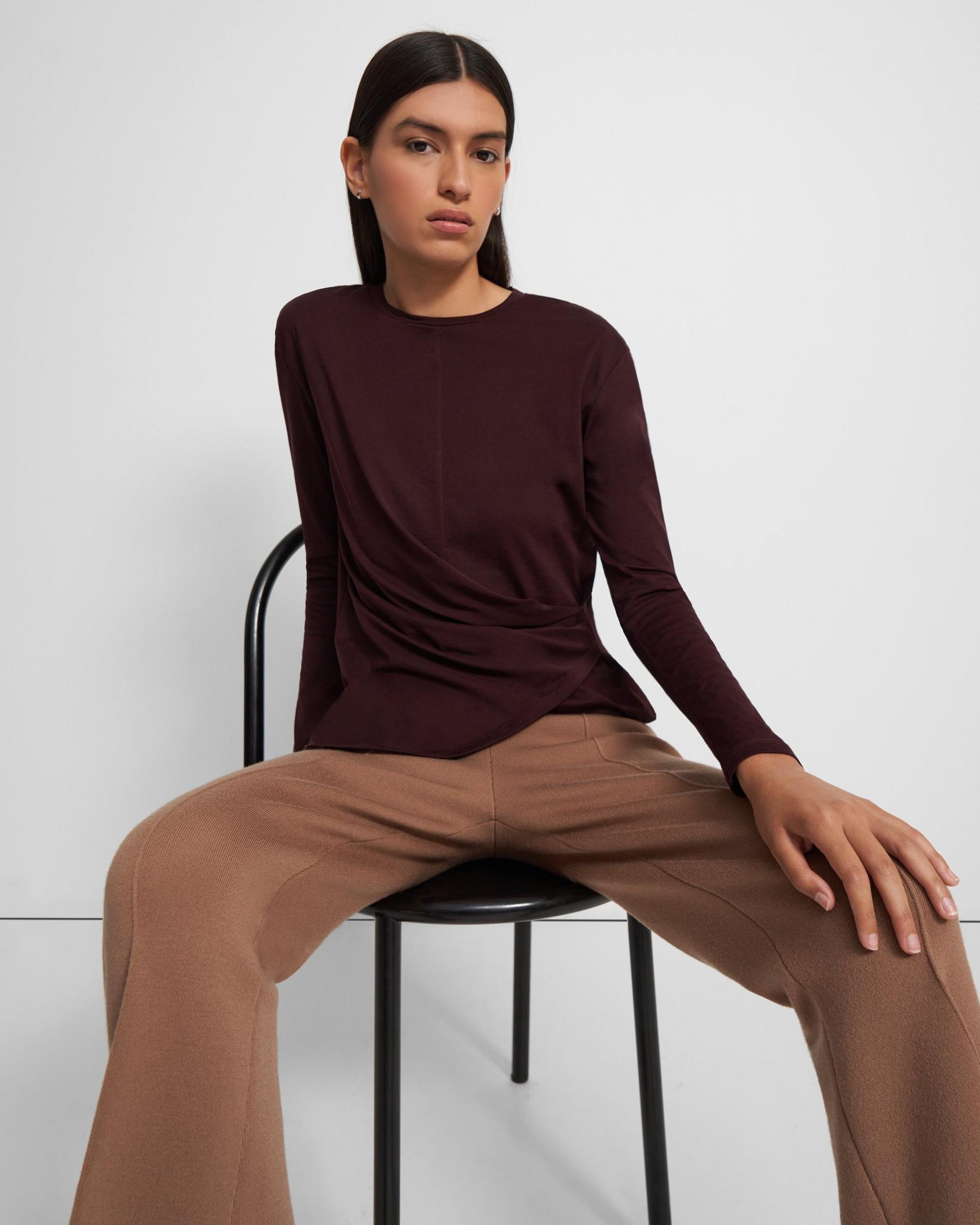 Long-Sleeve Draped Tee in Cotton