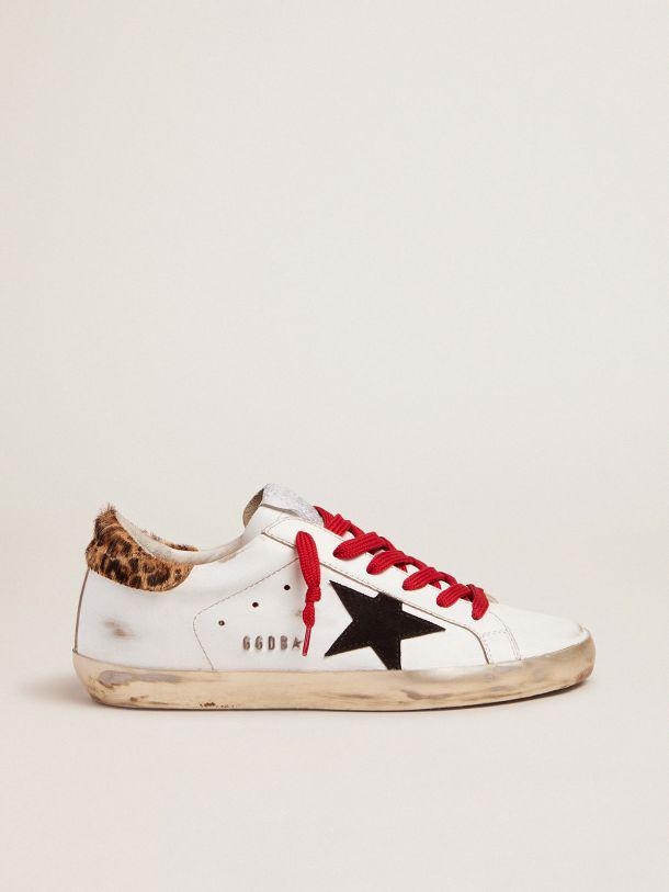 Super-Star sneakers with leopard-print heel tab and red laces