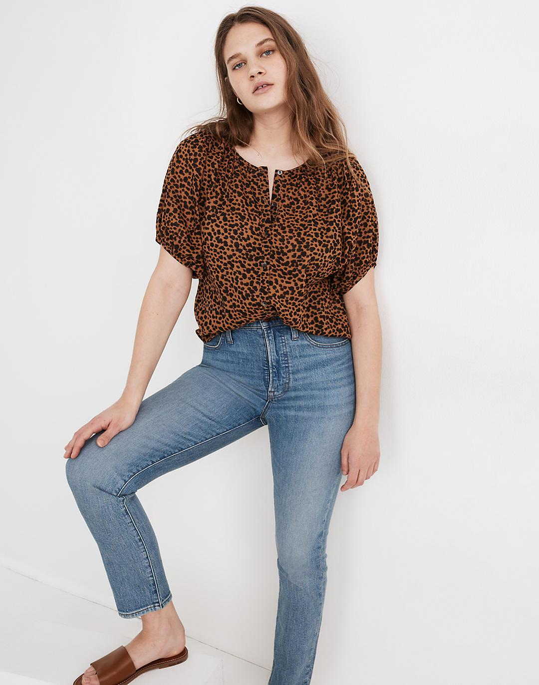 Balloon-Sleeve Button-Up Top in Painted Leopard
