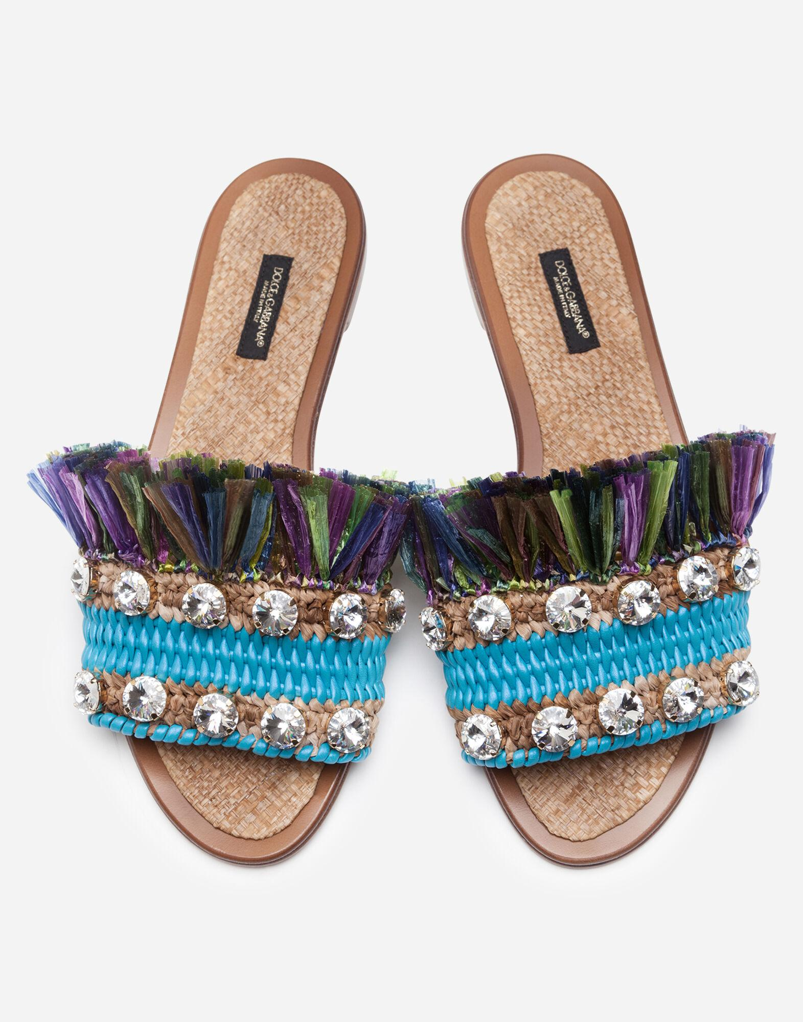 Sliders in straw with bejeweled embroidery 2
