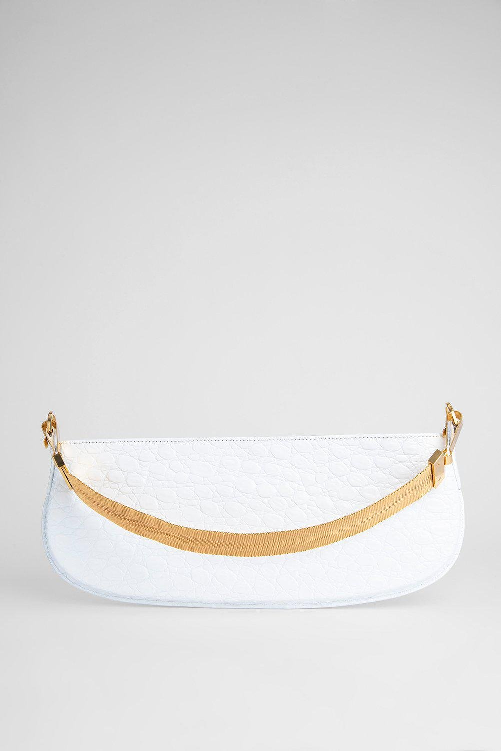 Beverly Optic White Circular Croco Embossed Leather