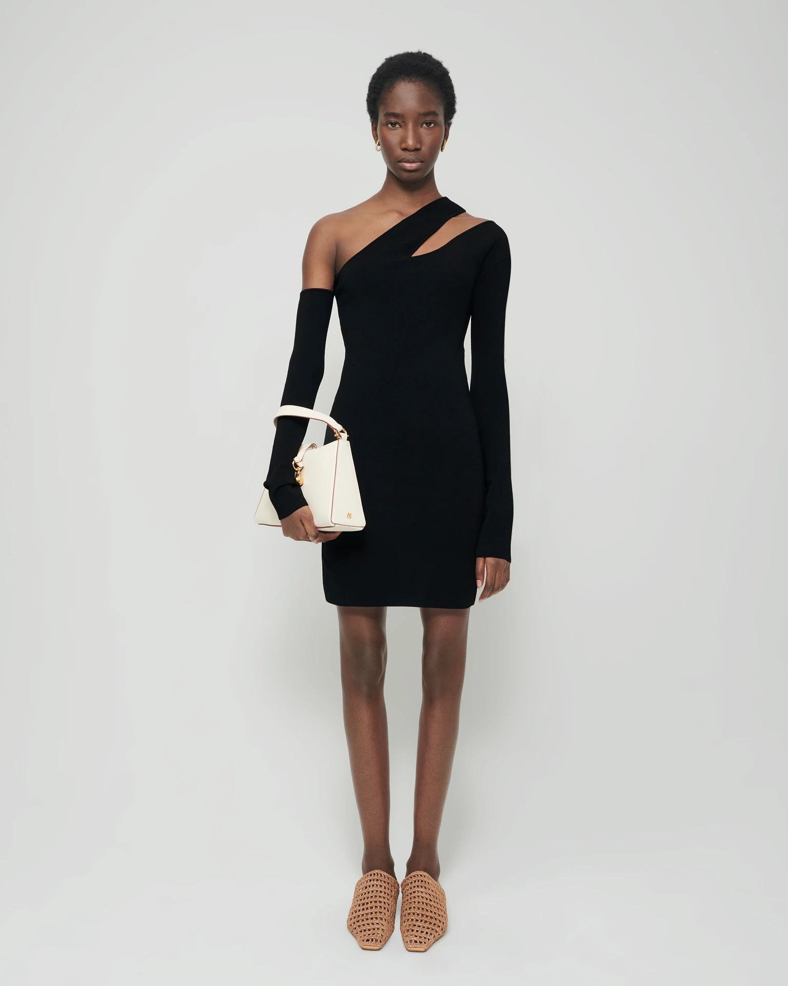 SHANI - Knitted cut-out dress - Black