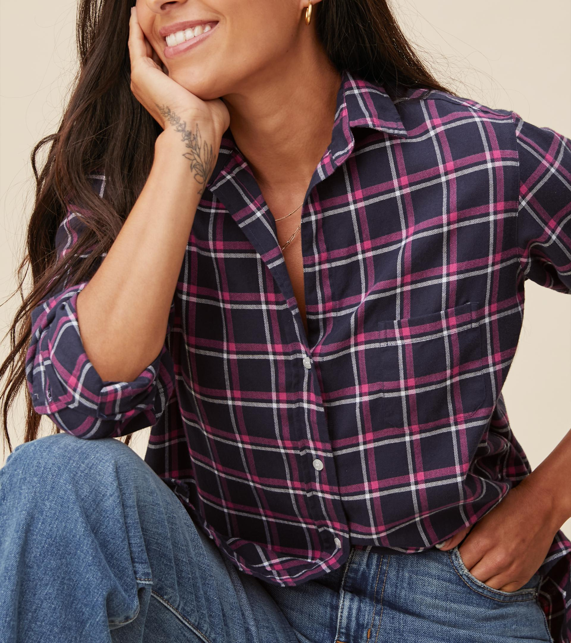 The Hero Button-Up Shirt Navy, Pink, and White Plaid, Feathered Flannel