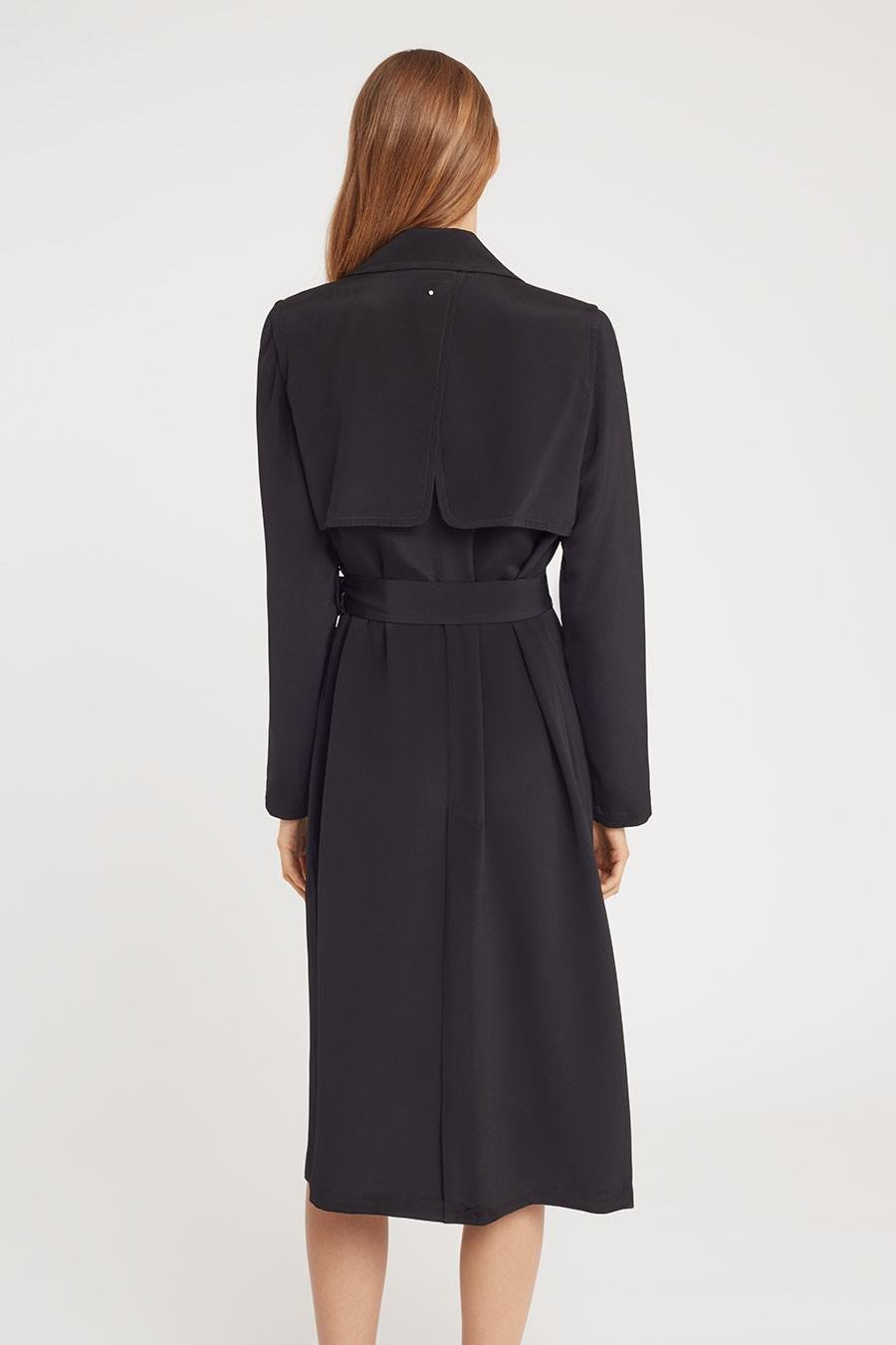 Women's Silk Classic Trench in Black | Size: 4