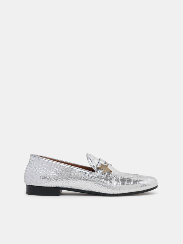 Virginia loafers in silver leather with crocodile print