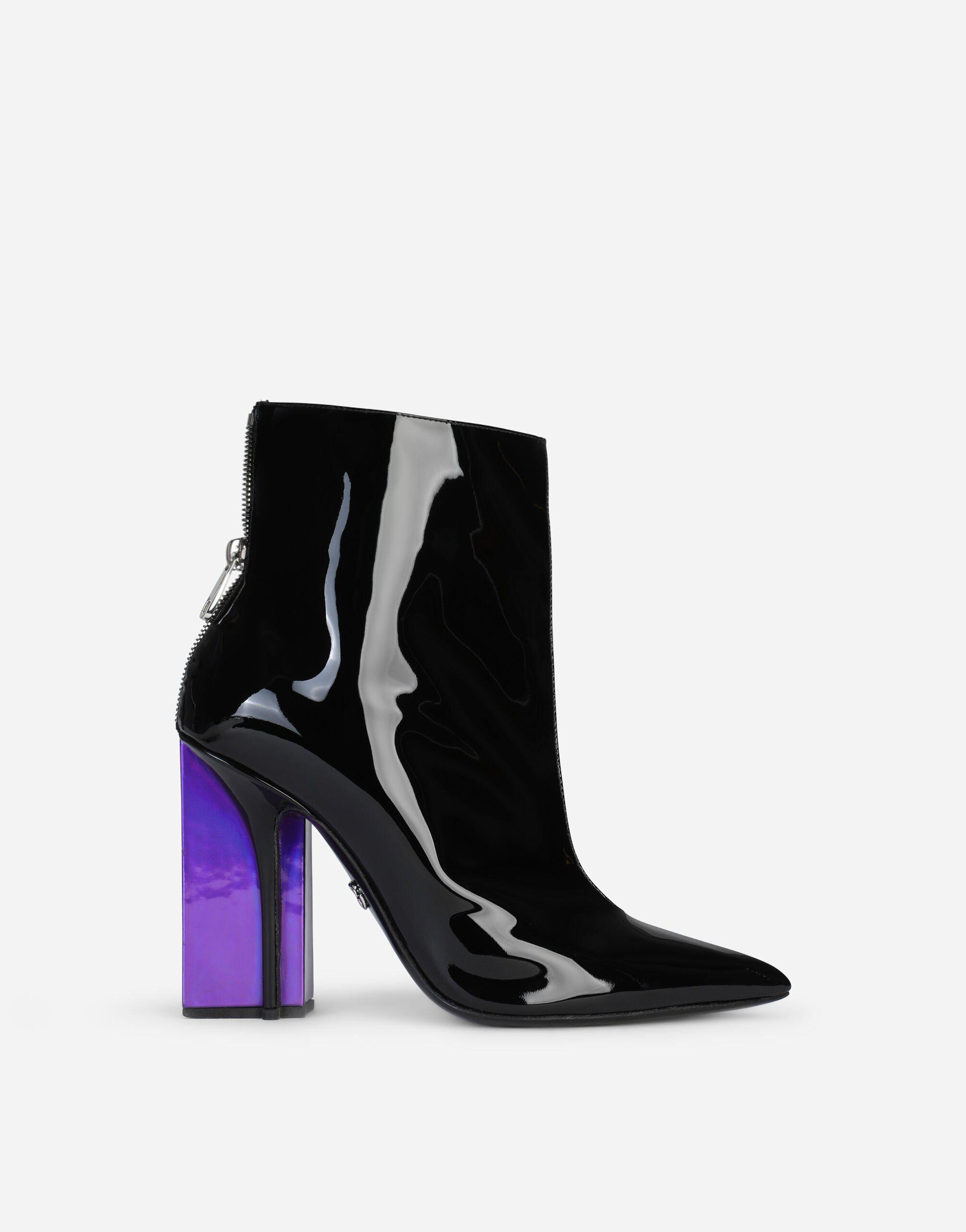 Strobo calfskin and patent leather ankle boots