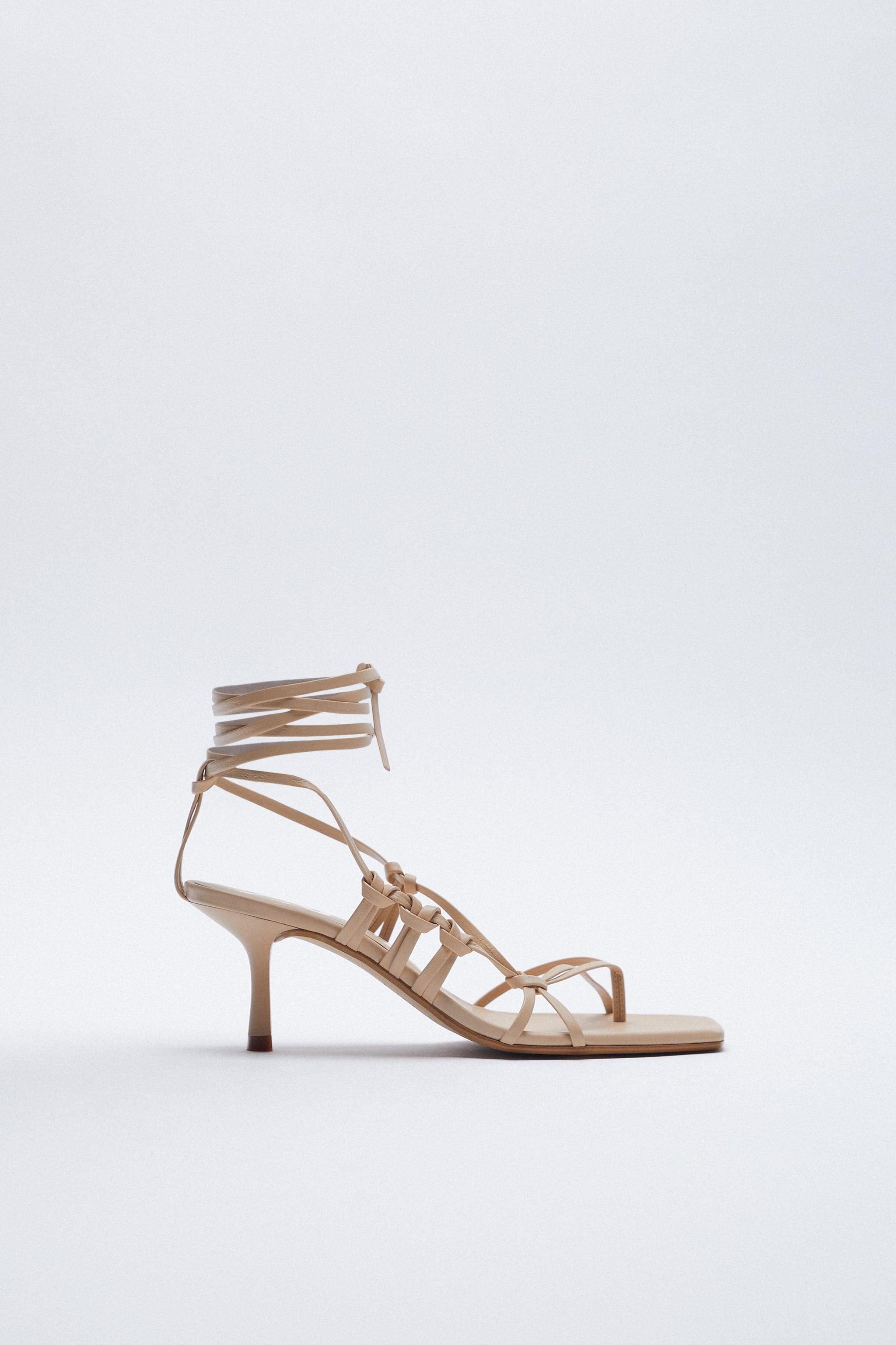 HEELED STRAPPY LEATHER SANDALS 2