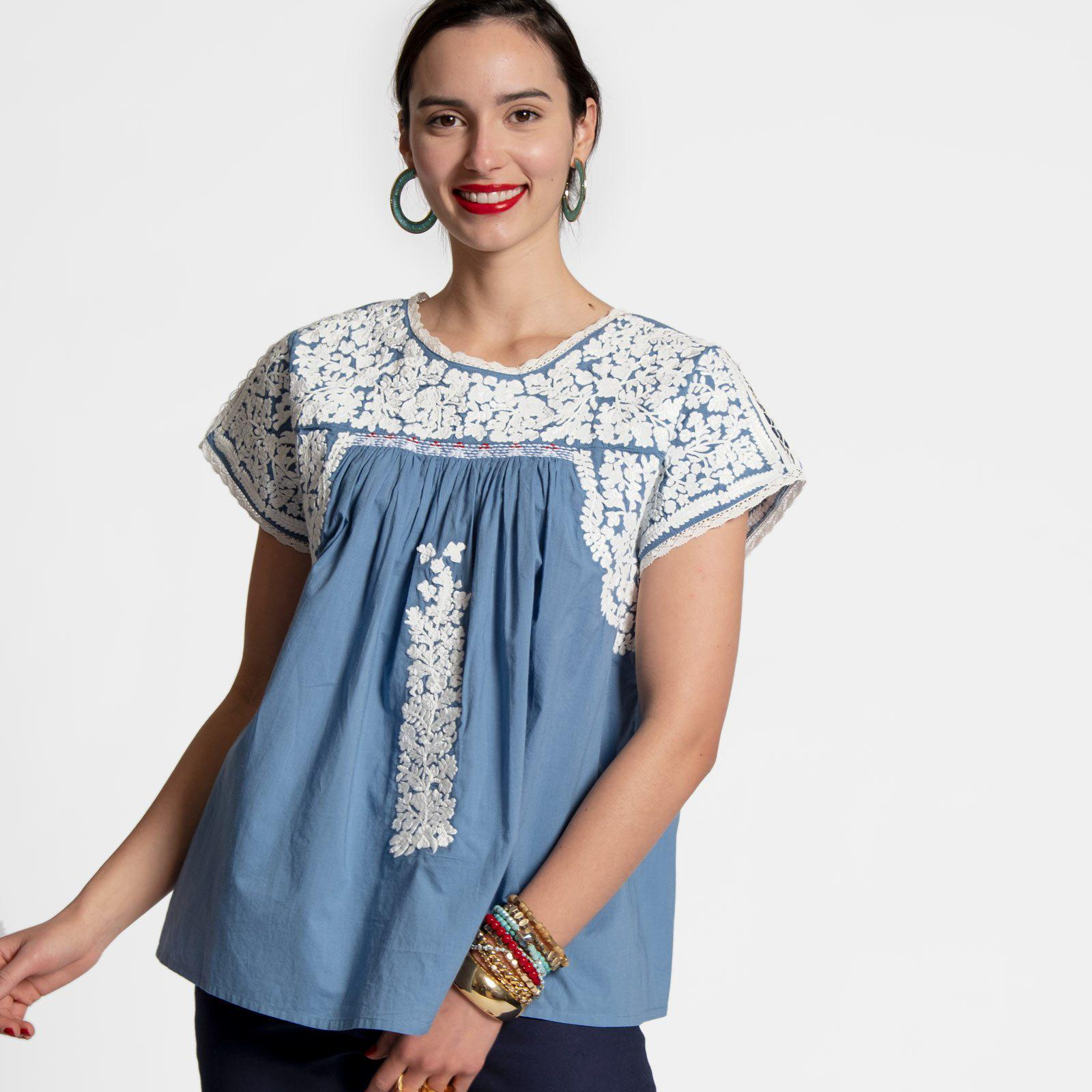 Embroidered Flower Top Light Blue