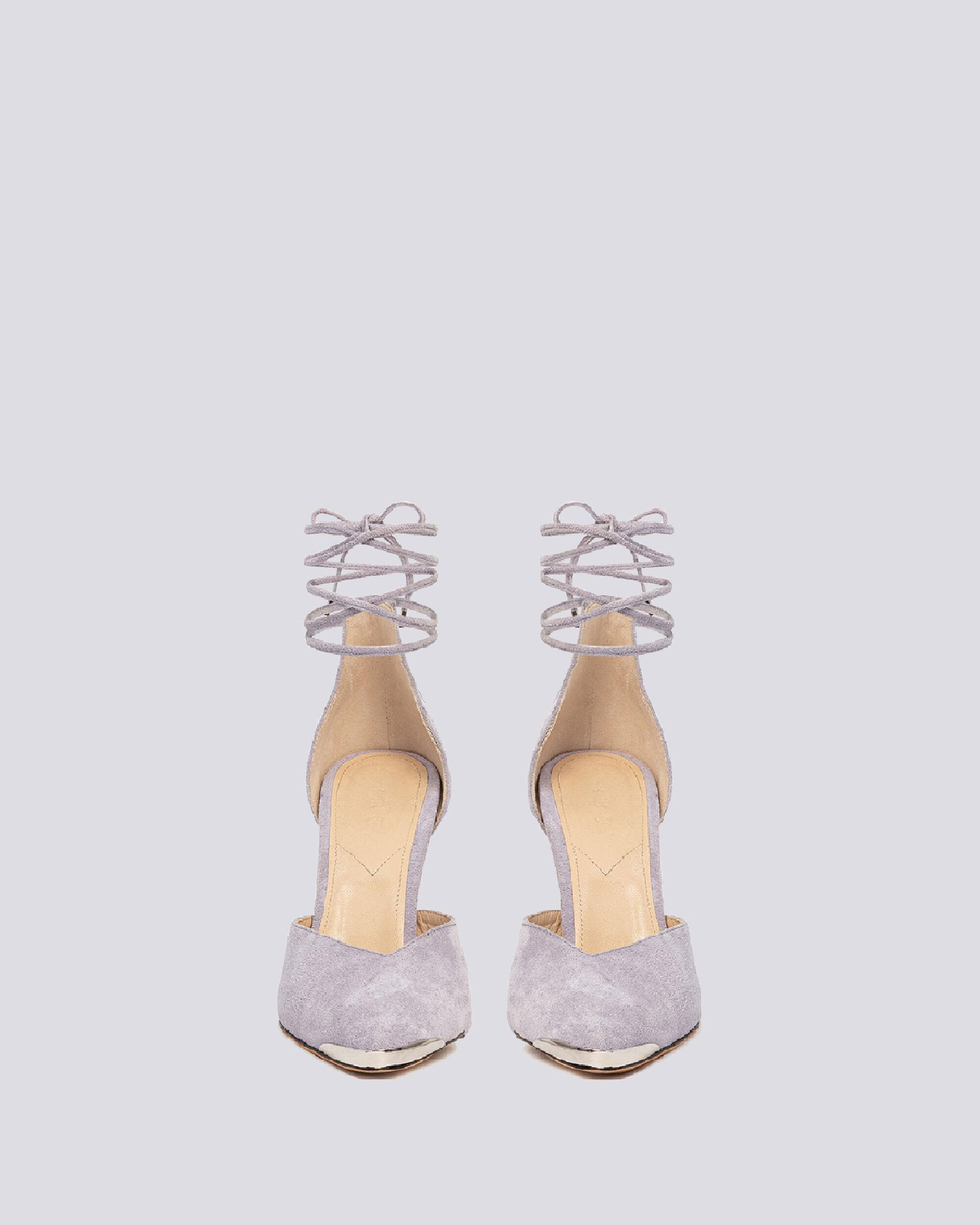 MIFAL SUEDE POINTED TOE ANKLE TIE PUMPS 2
