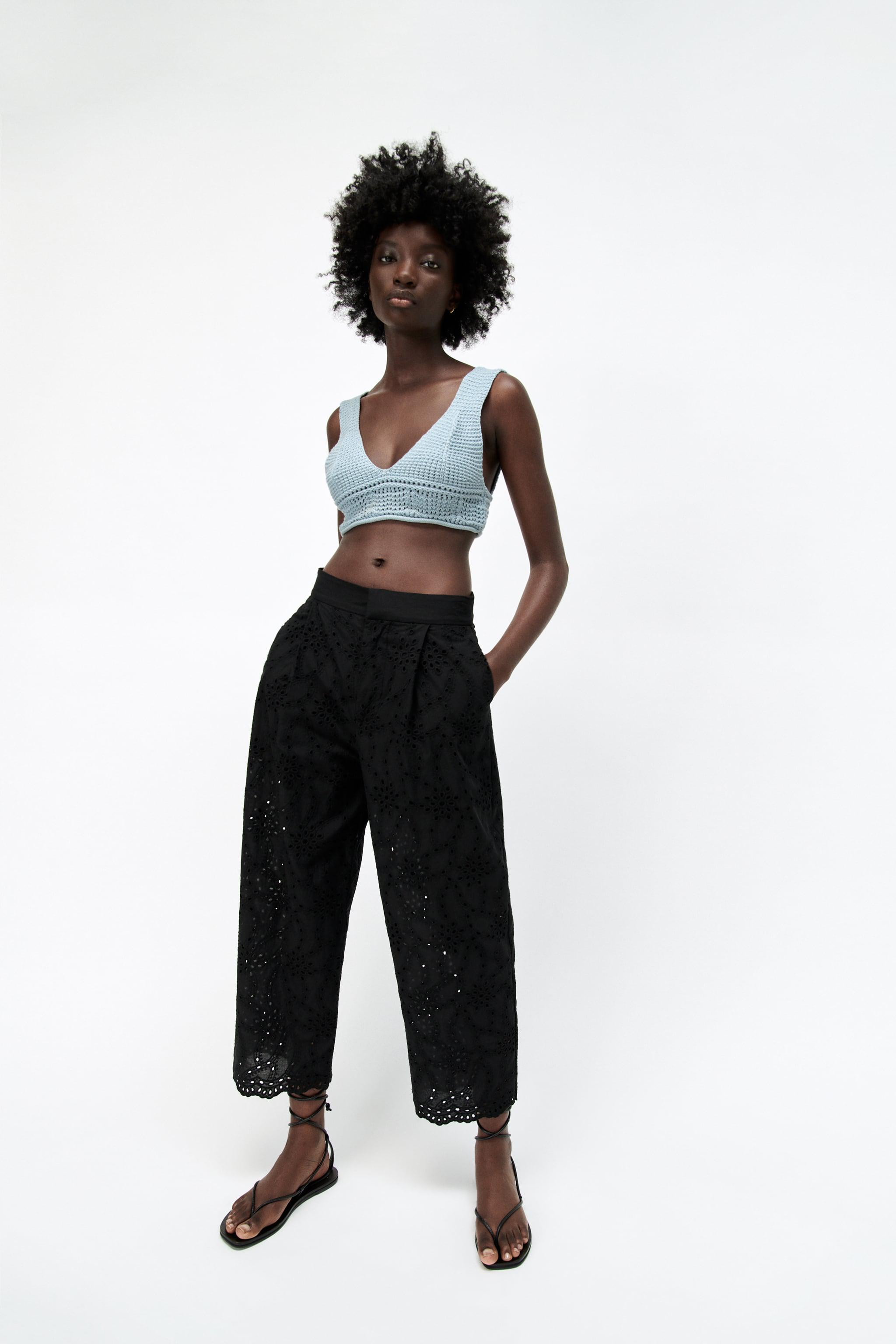 PANTS WITH OPENWORK EMBROIDERY