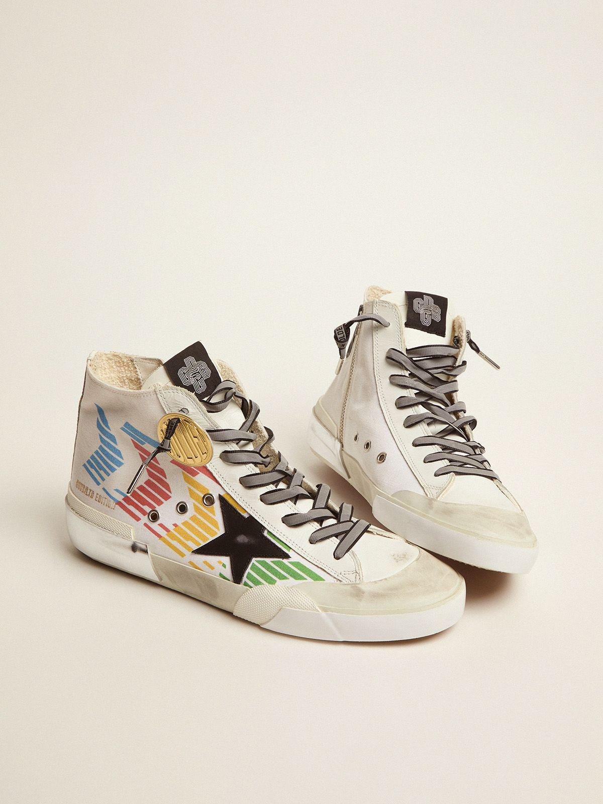 Francy Game EDT Capsule Collection sneakers with white canvas upper and multicolored screen print 1