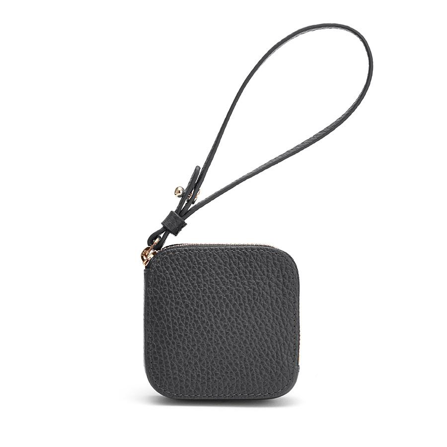 Women's Leather Airpod Case in Charcoal | Pebbled Leather by Cuyana