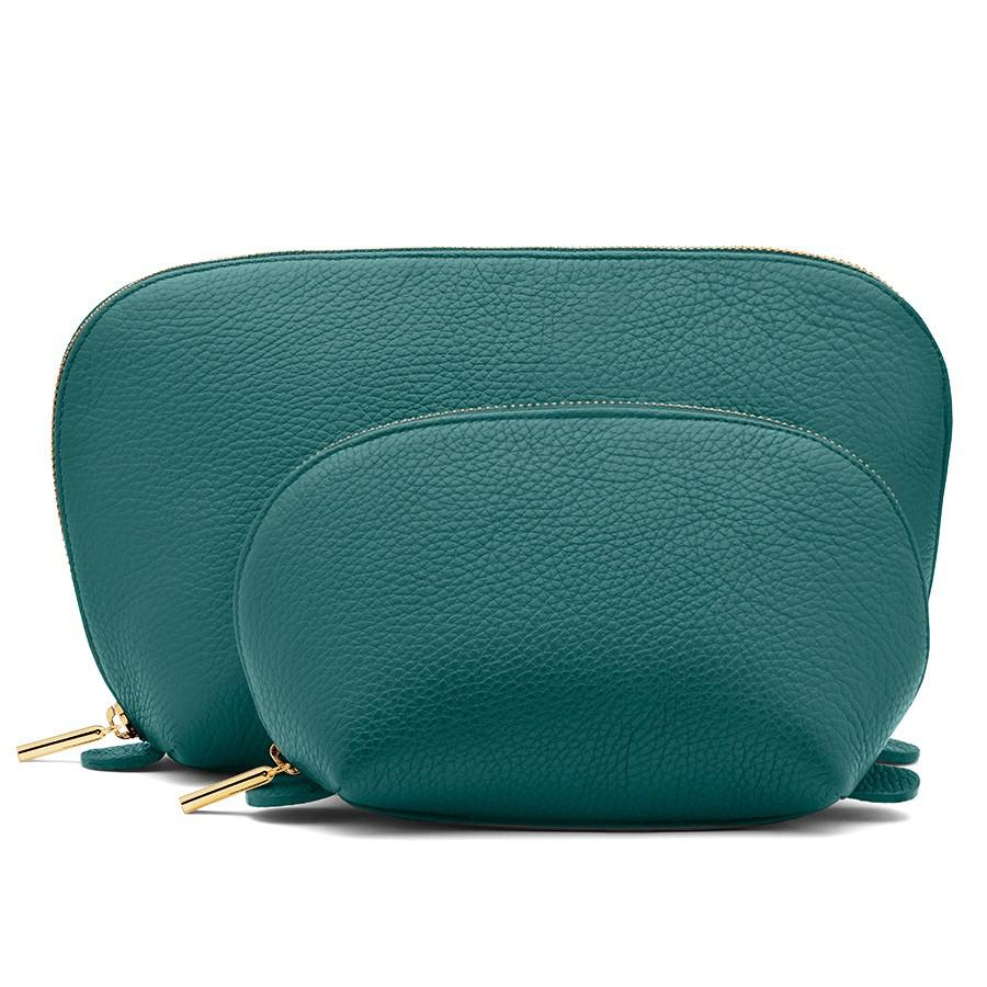 Women's Leather Travel Case Set in Jade   Pebbled Leather by Cuyana