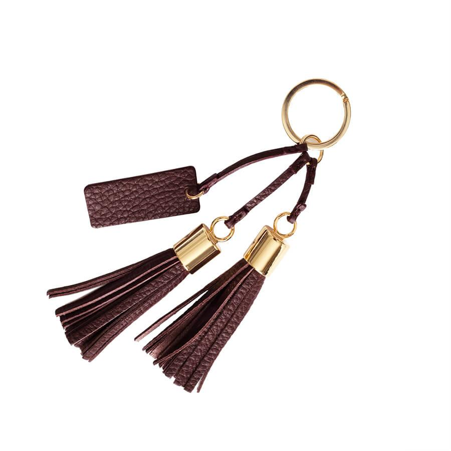 Women's Leather Tassel Keychain in Burgundy | Pebbled Leather by Cuyana