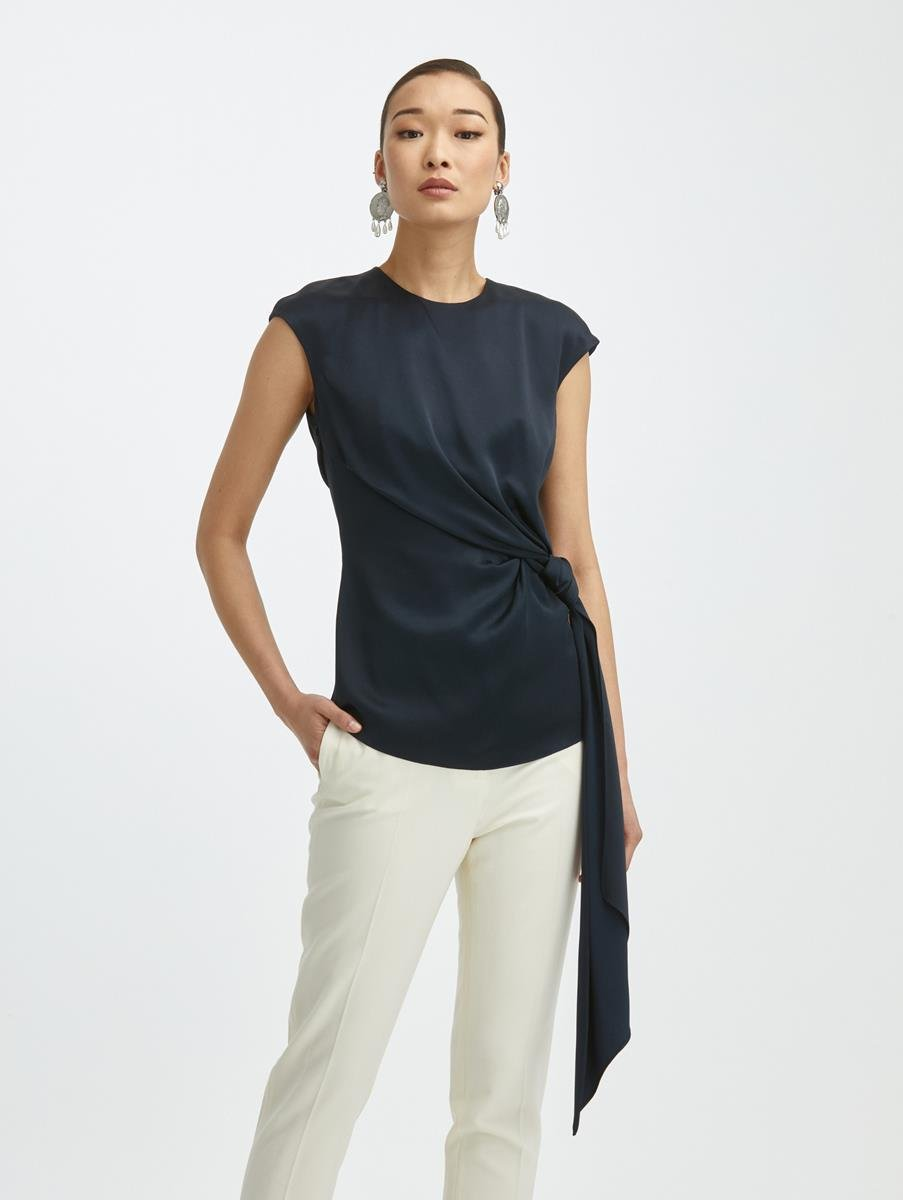SIDE KNOTTED SASH BLOUSE