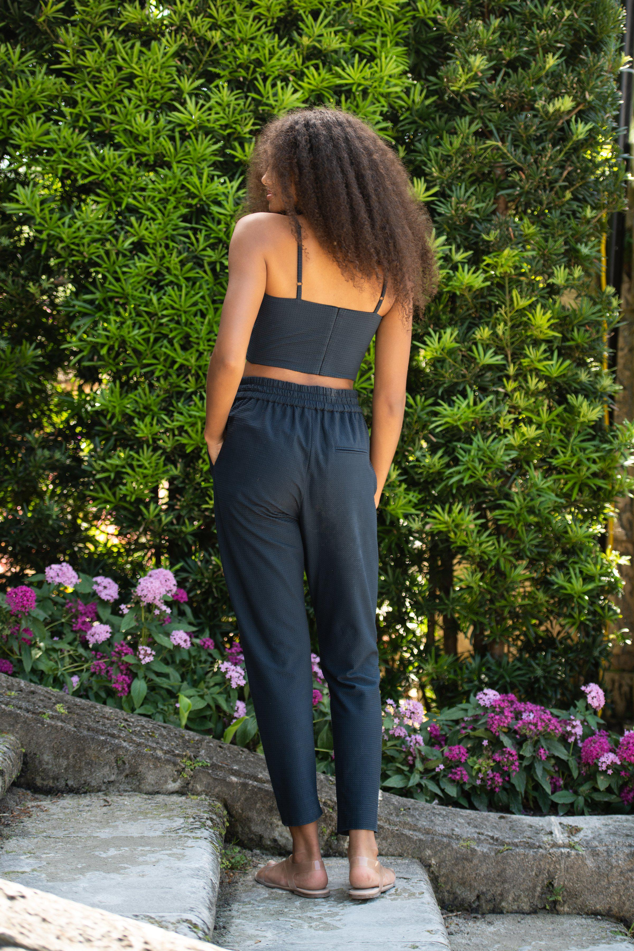 The Phyllis Pant | Navy Blue Gingham Jersey 1