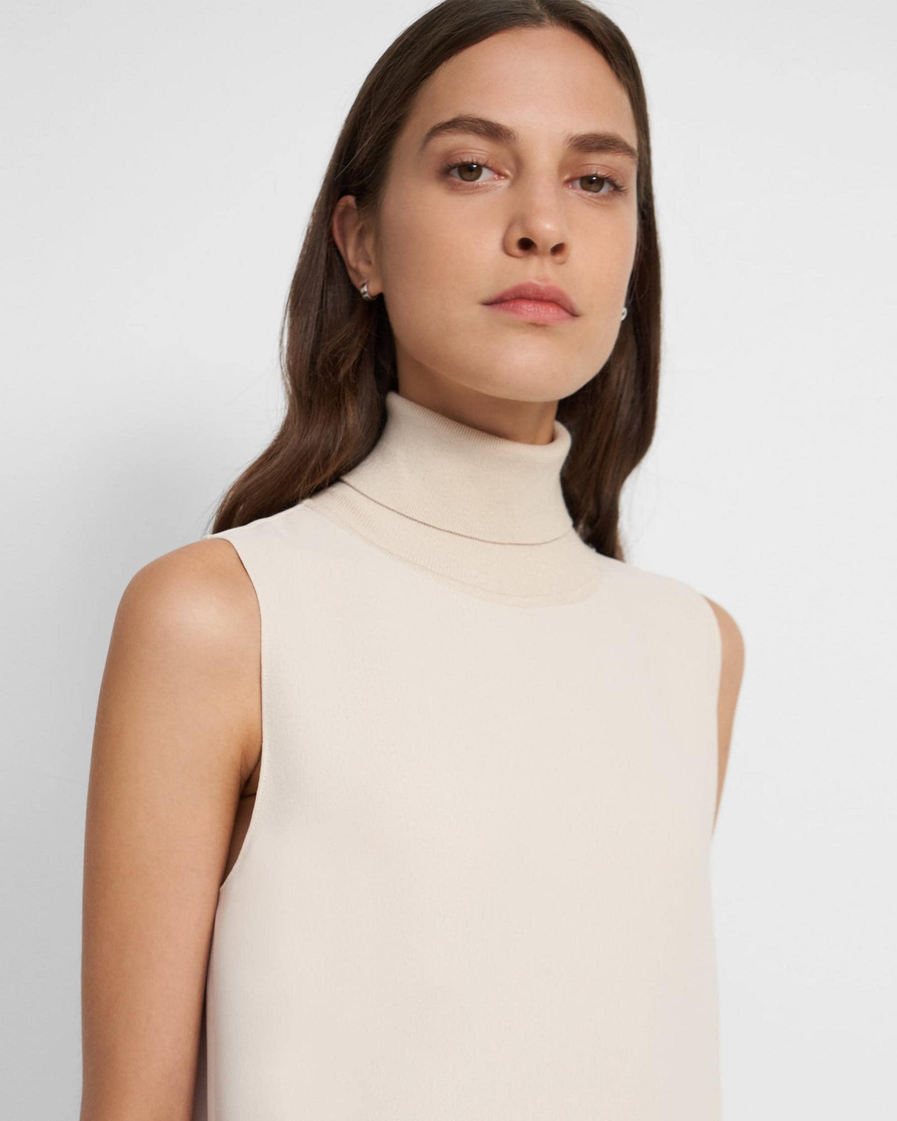 Roll Neck Dress in Crepe 2