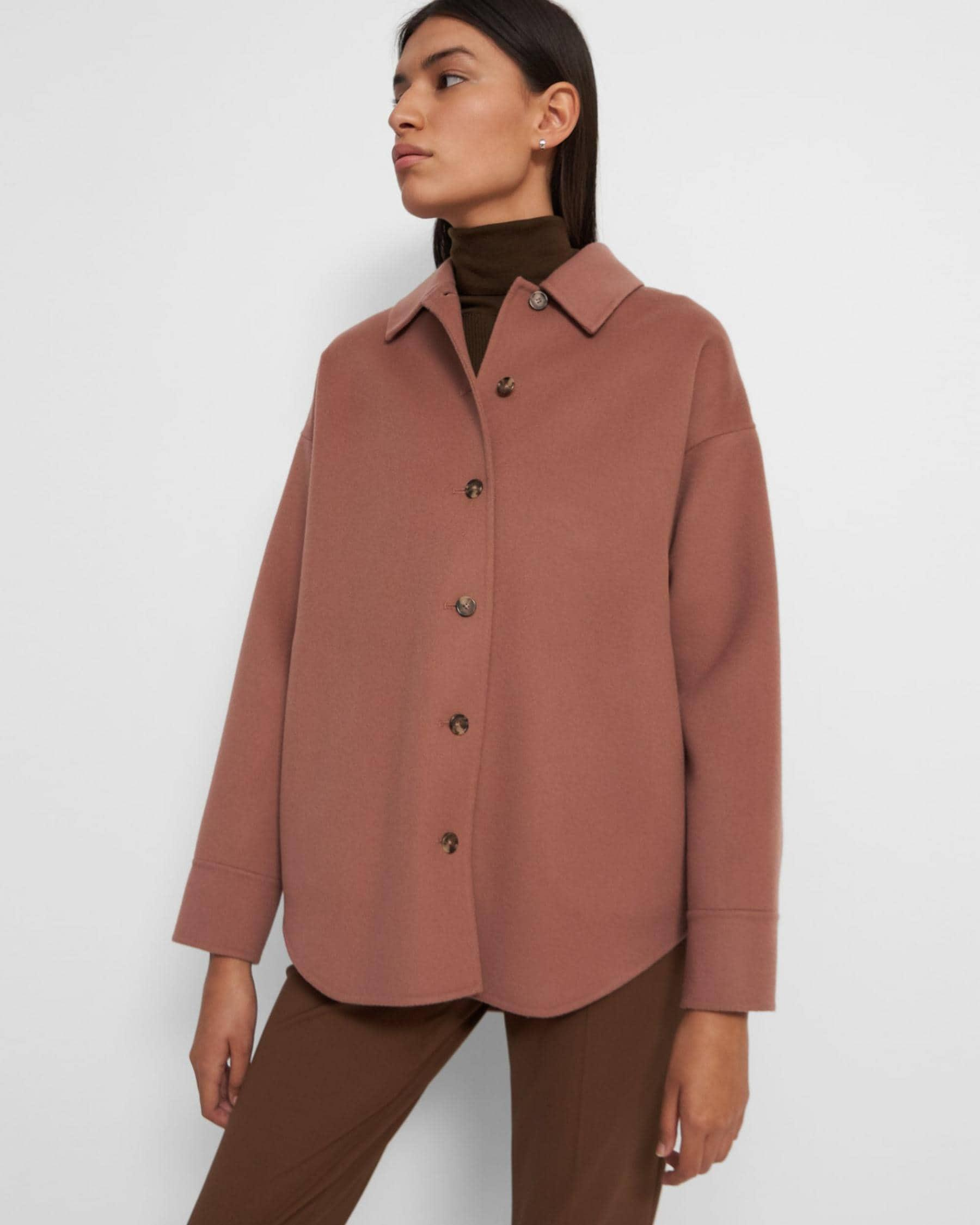 Oversized Shirt Jacket in Double-Face Wool-Cashmere