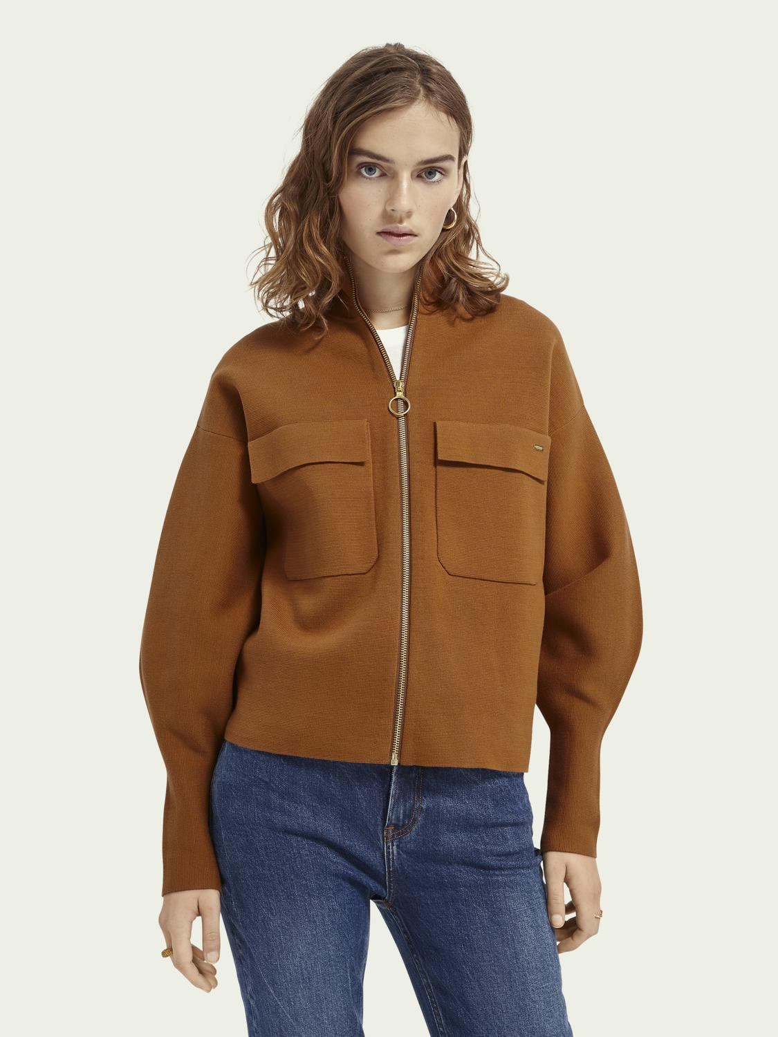 Knitted zip-up cotton-blend sweater