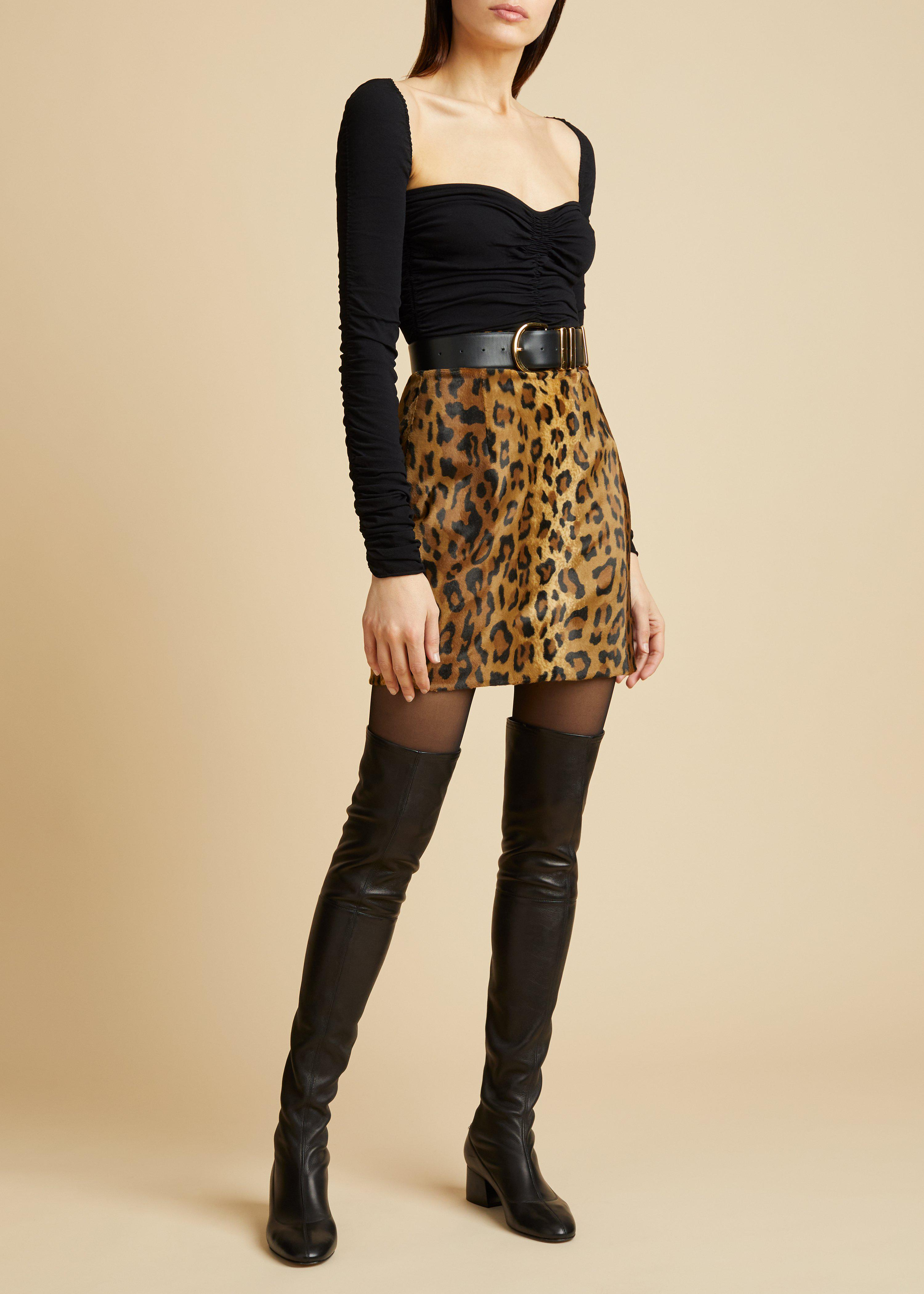 The Eiko Skirt in Cheetah Velvet